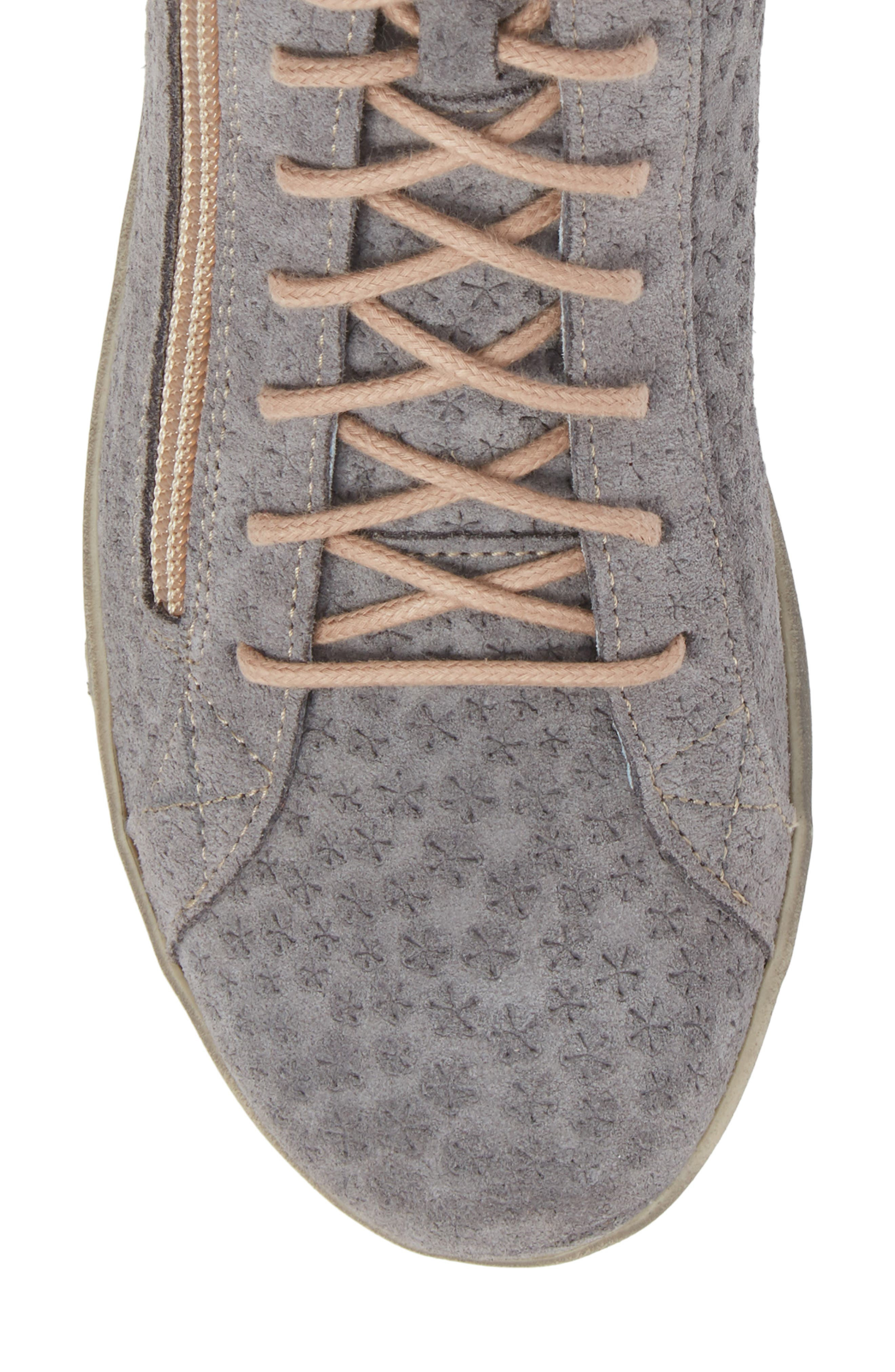 Aika Star Perforated High Top Sneaker,                             Alternate thumbnail 5, color,                             Grey Leather