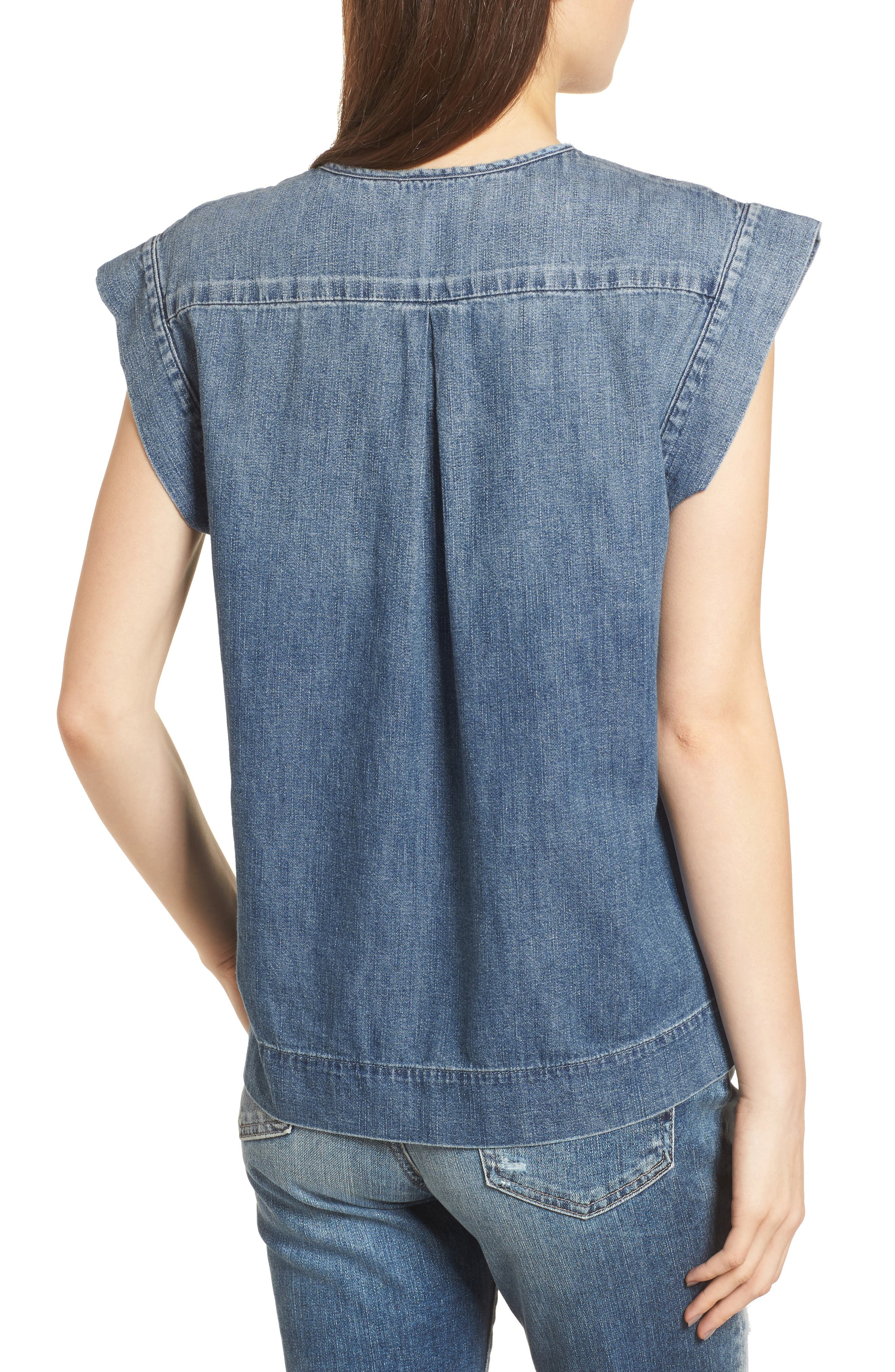 The Trista Denim Top,                             Alternate thumbnail 2, color,                             Blue Buff