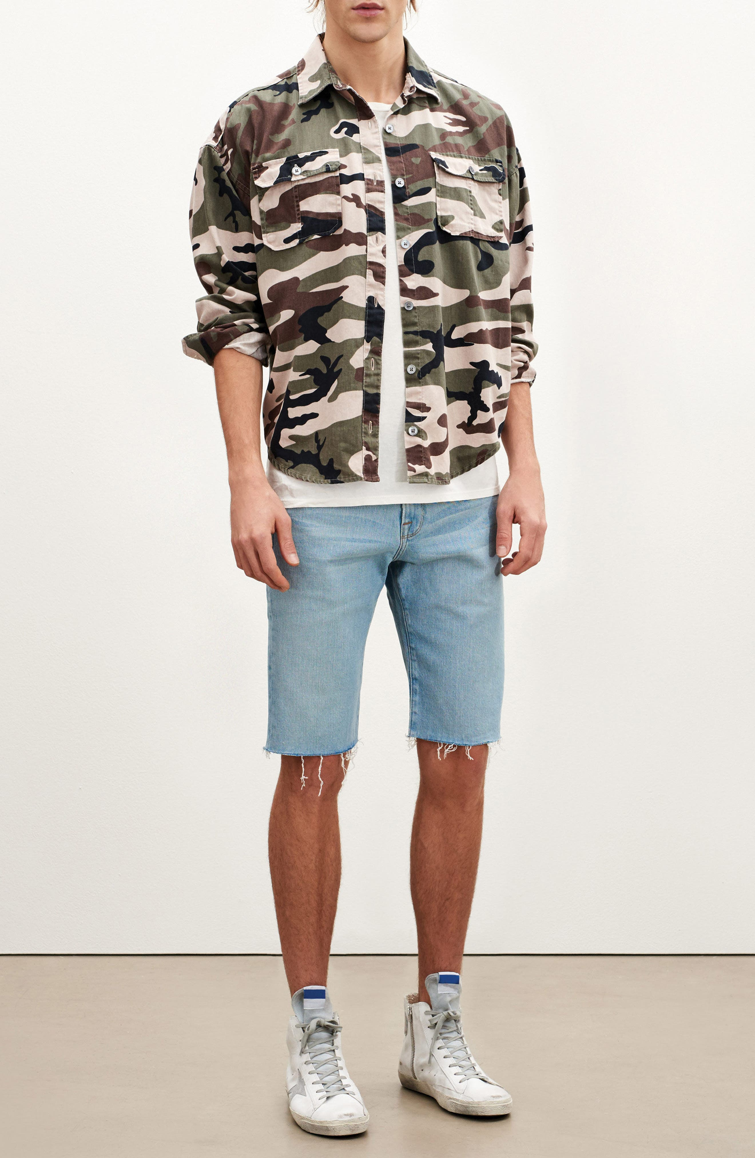 L'Homme Cutoff Denim Shorts,                             Alternate thumbnail 7, color,