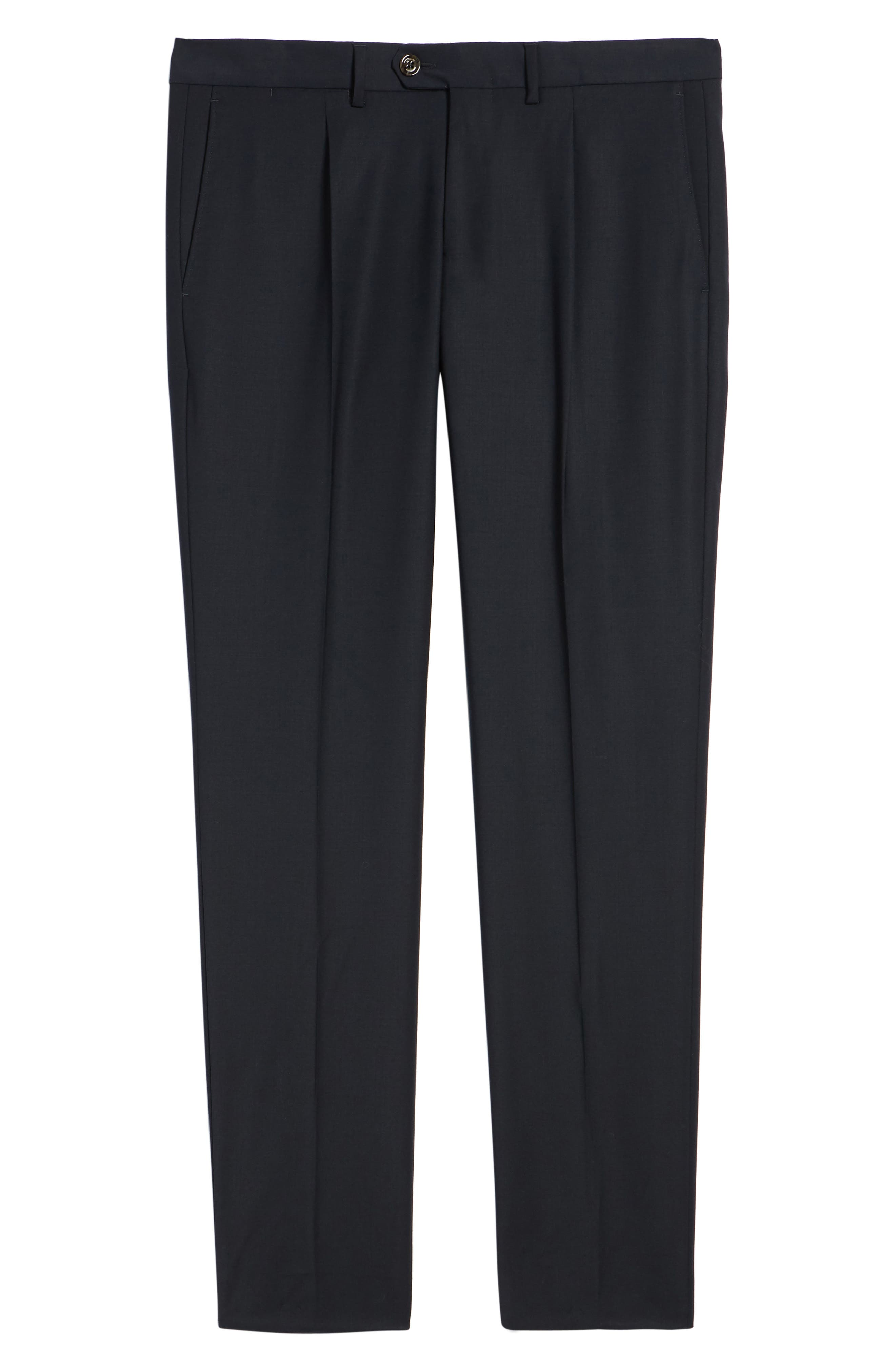 Alternate Image 6  - Eleventy Pleat Front Stretch Solid Wool Trousers