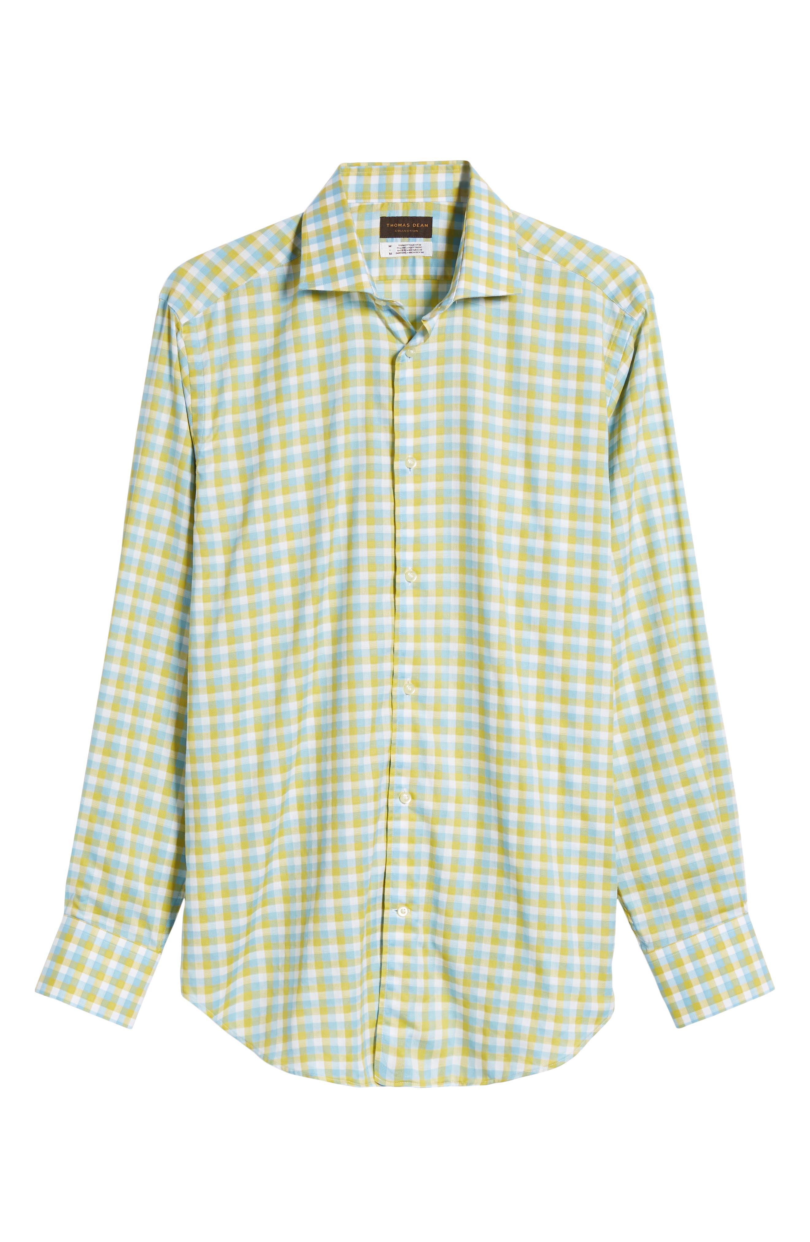 Regular Fit Check Sport Shirt,                             Alternate thumbnail 6, color,                             Yellow