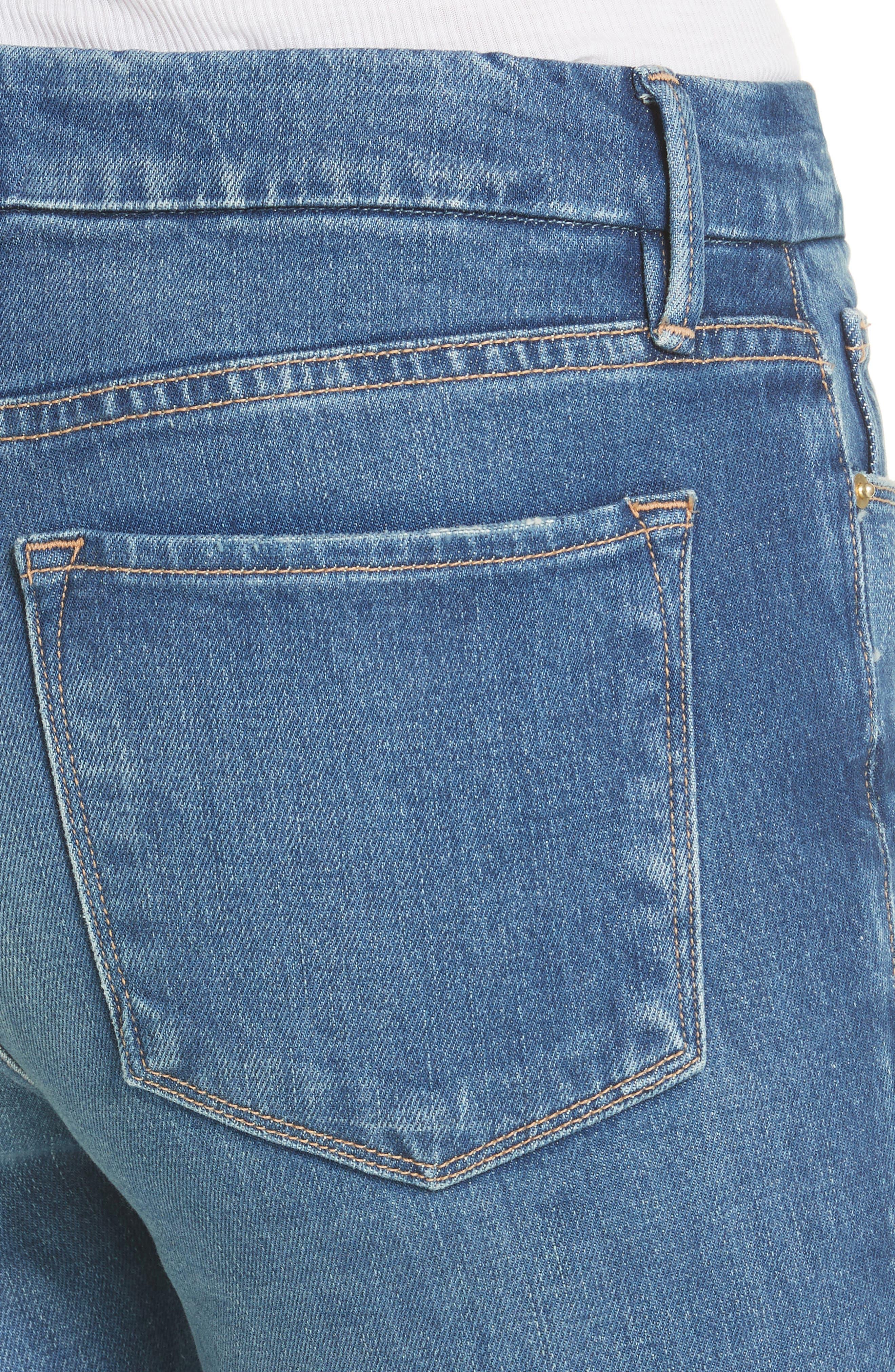 Le Crop Mini Boot Raw Hem Jeans,                             Alternate thumbnail 4, color,                             Clappson