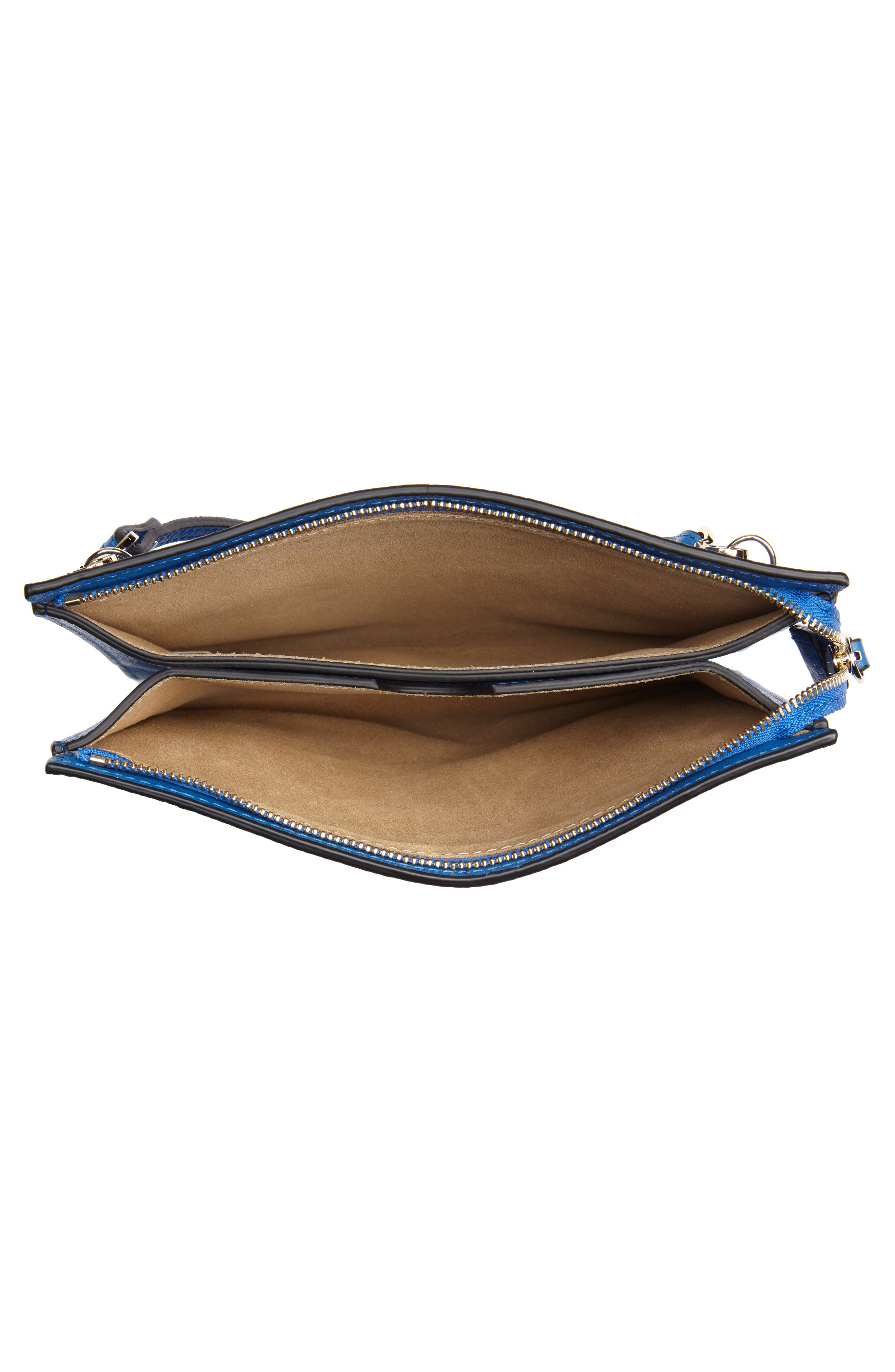 Dual Slim Leather Crossbody Clutch,                             Alternate thumbnail 4, color,                             Sea Blue