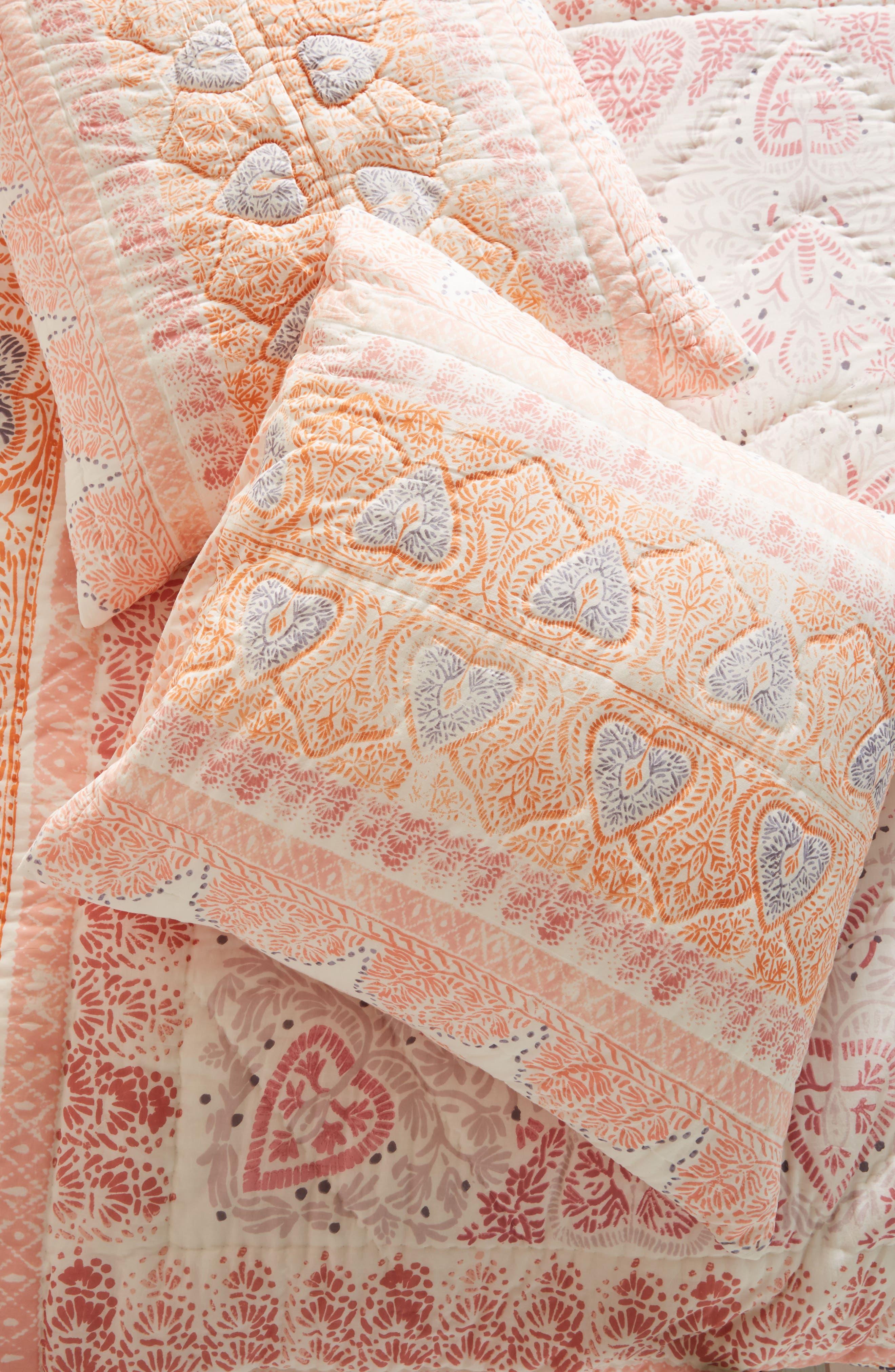 Josee Euro Sham,                             Main thumbnail 1, color,                             Coral