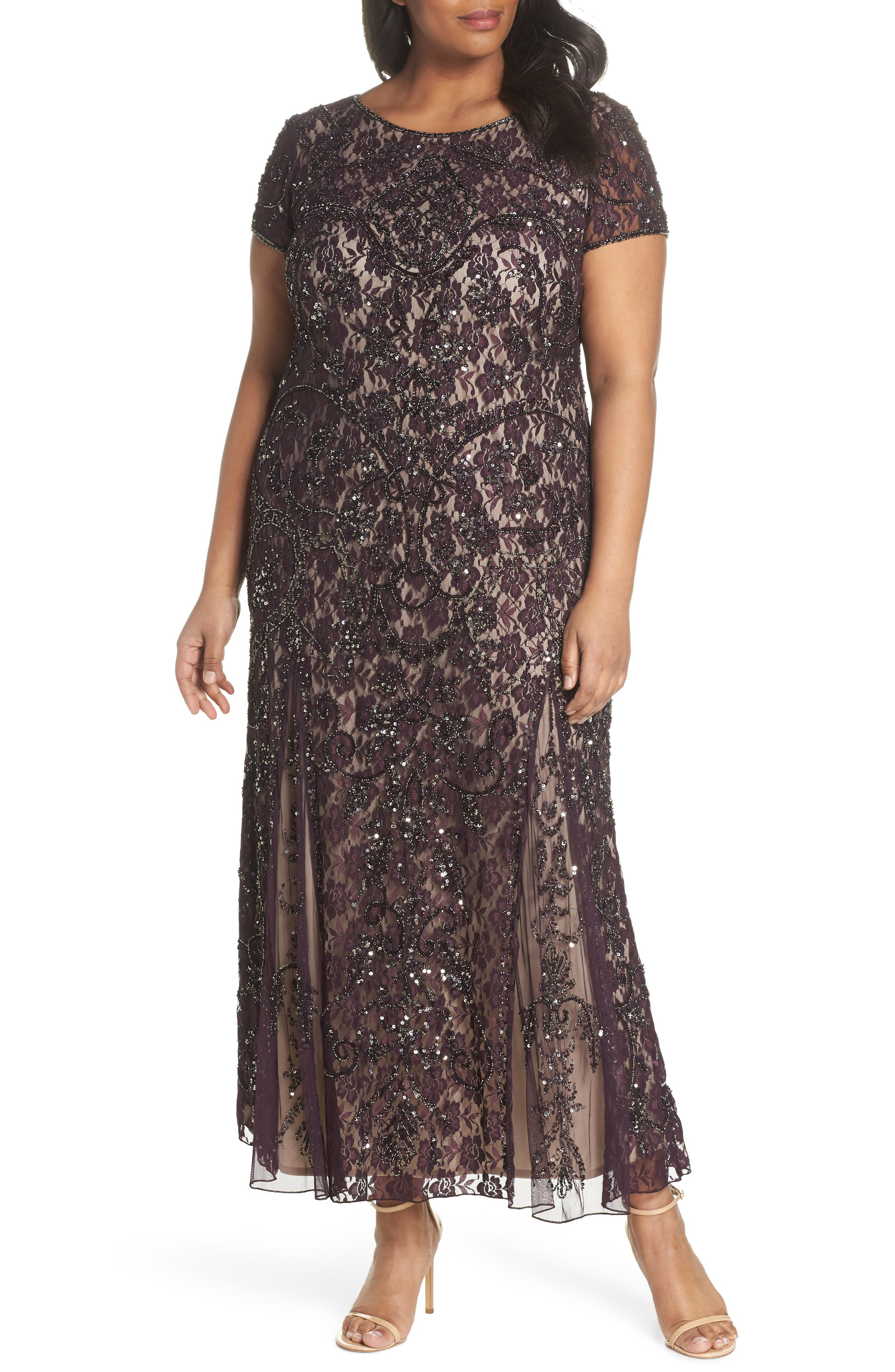 Embellished Lace A-Line Dress,                             Main thumbnail 1, color,                             Plum