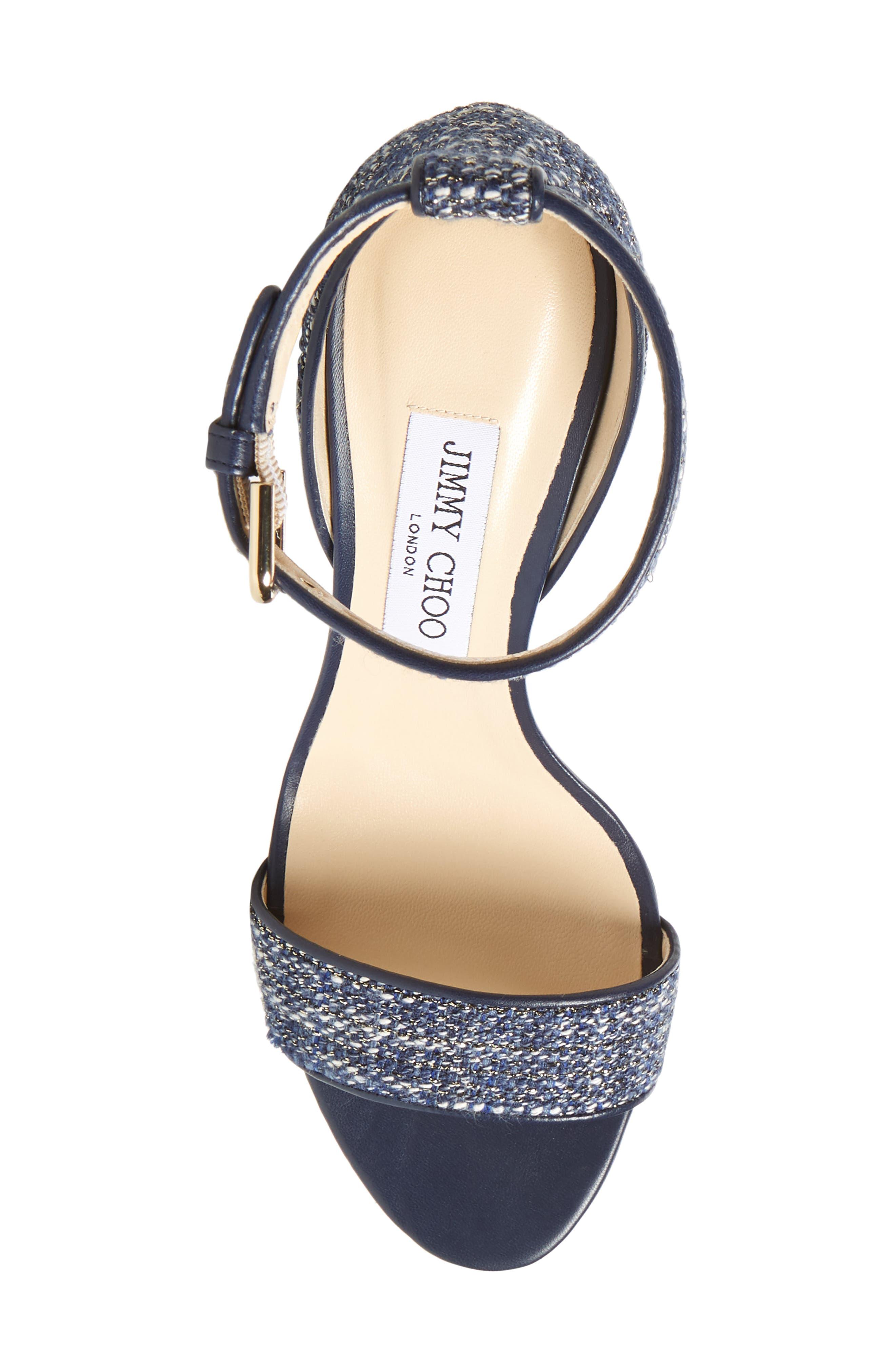 Edina Ankle Strap Sandal,                             Alternate thumbnail 5, color,                             Navy Glitter