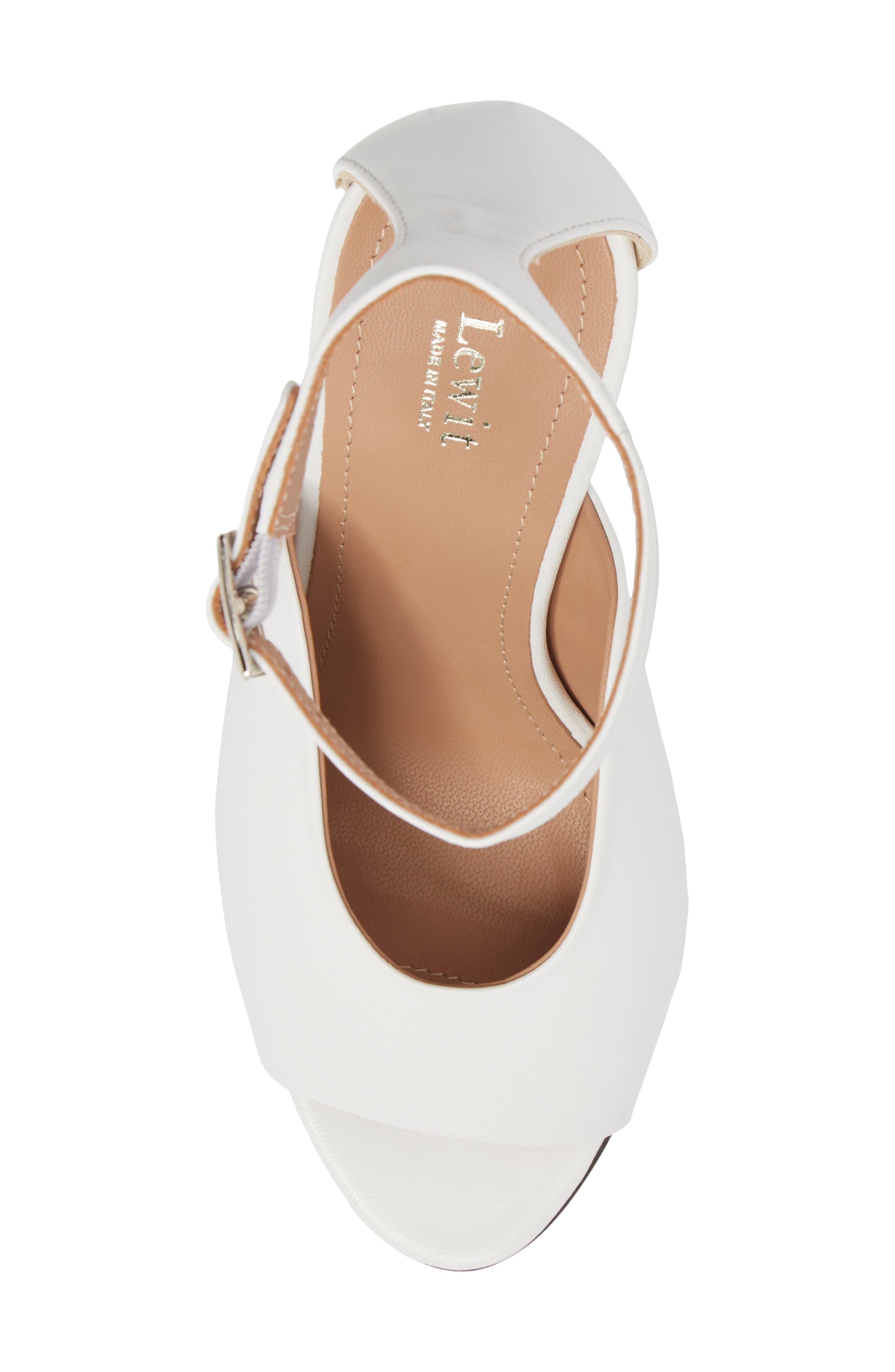 Rosalia Halo Strap Sandal,                             Alternate thumbnail 5, color,                             White Leather