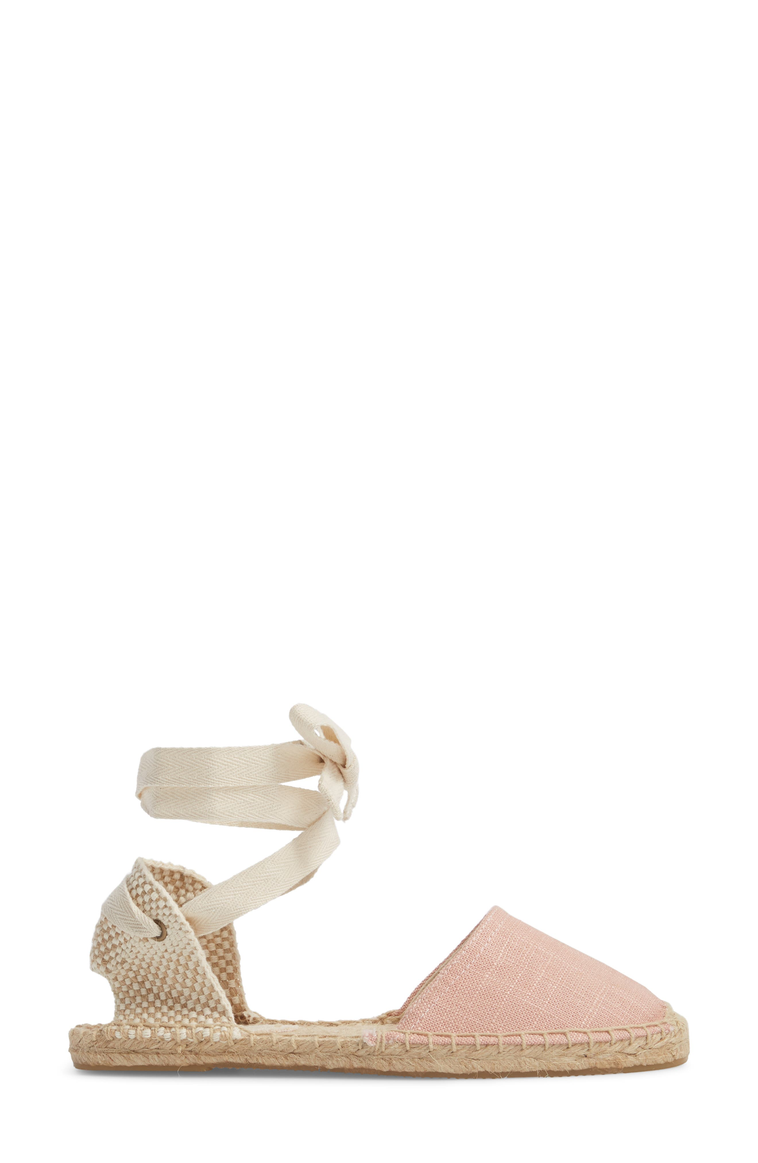 Classic Espadrille Sandal,                             Alternate thumbnail 3, color,                             Dusty Rose Fabric