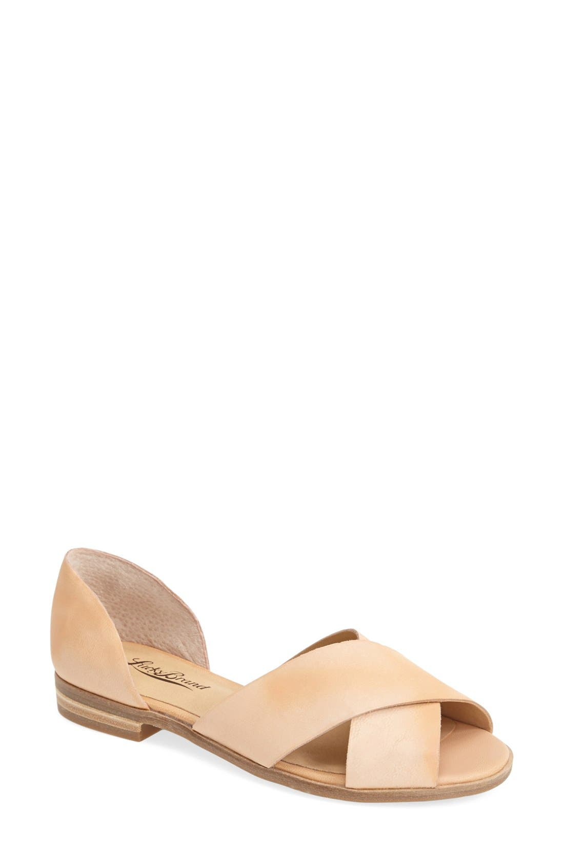 Alternate Image 1 Selected - Lucky Brand 'Silla' Leather Cross Strap Sandal (Women)