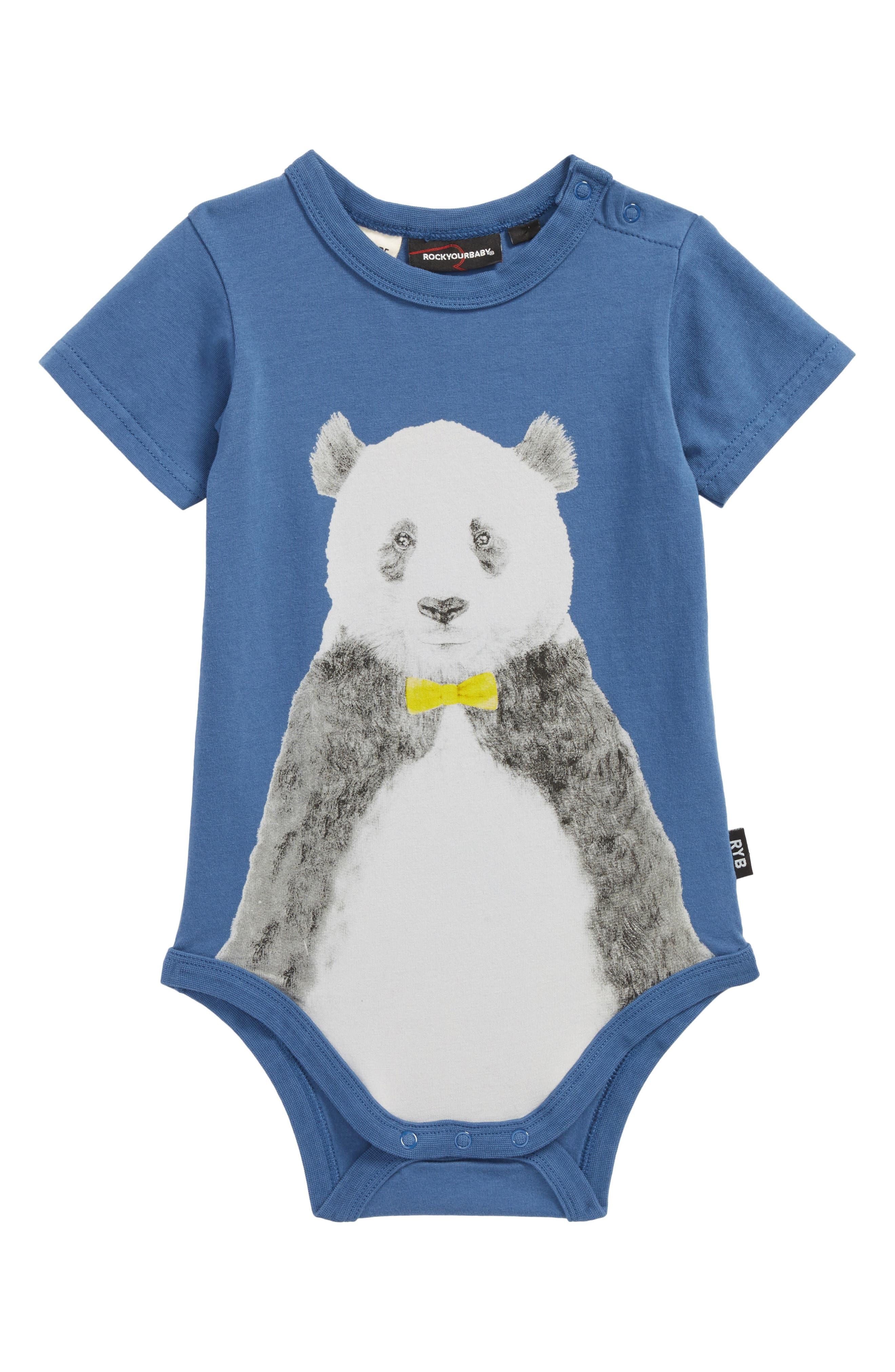 Panda Bodysuit,                         Main,                         color, Blue