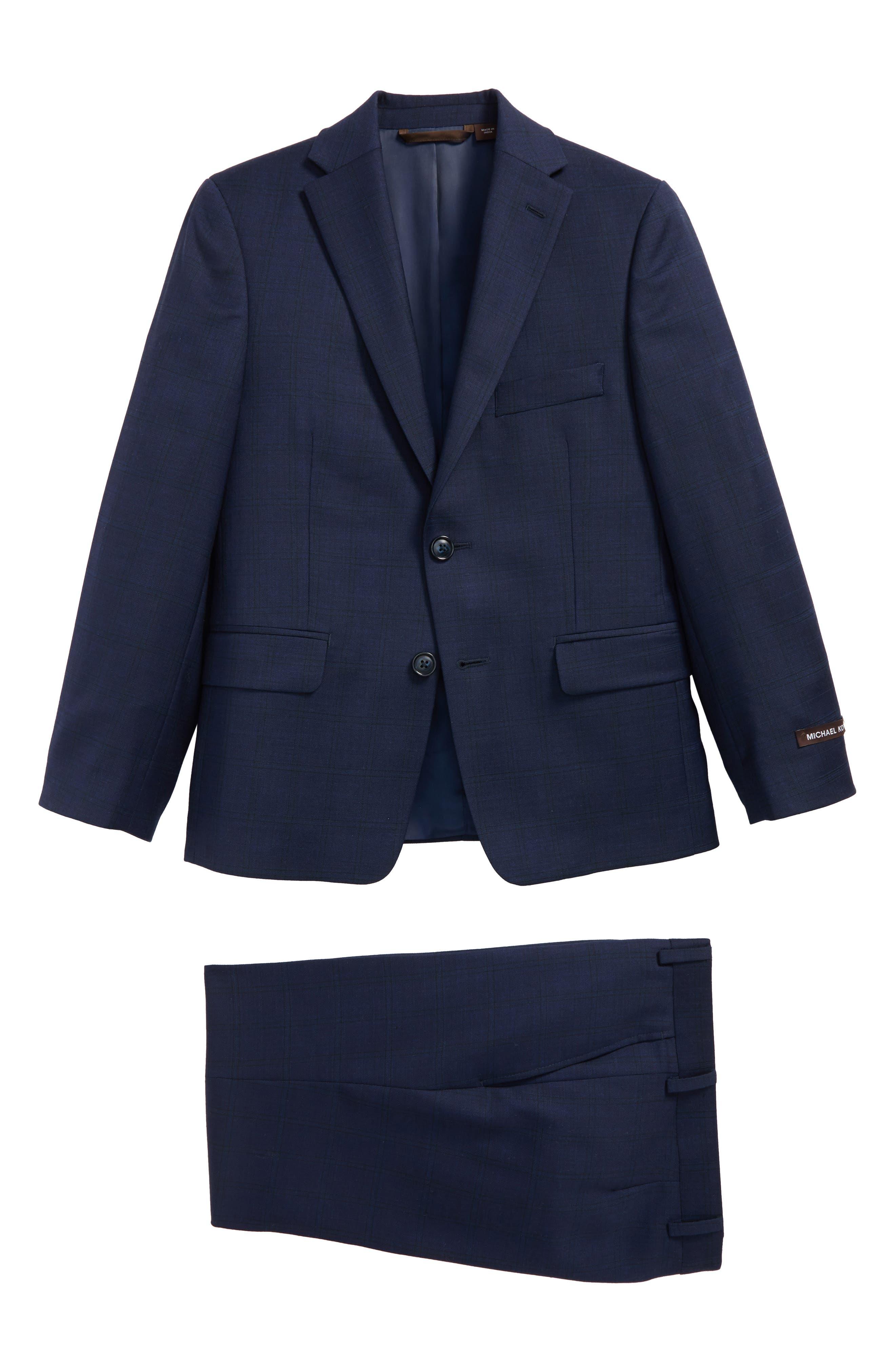 Plaid Wool Suit,                         Main,                         color, Navy