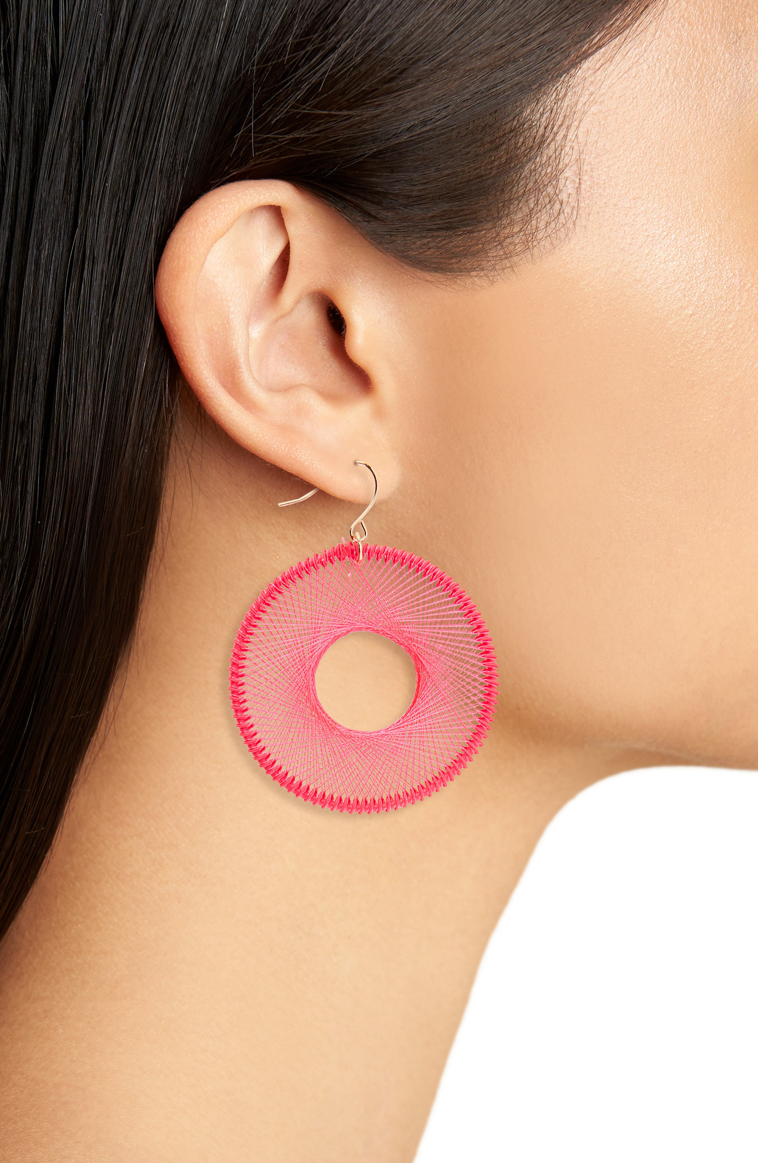 Silk Thread Hoop Earrings,                             Alternate thumbnail 2, color,                             Hot Pink