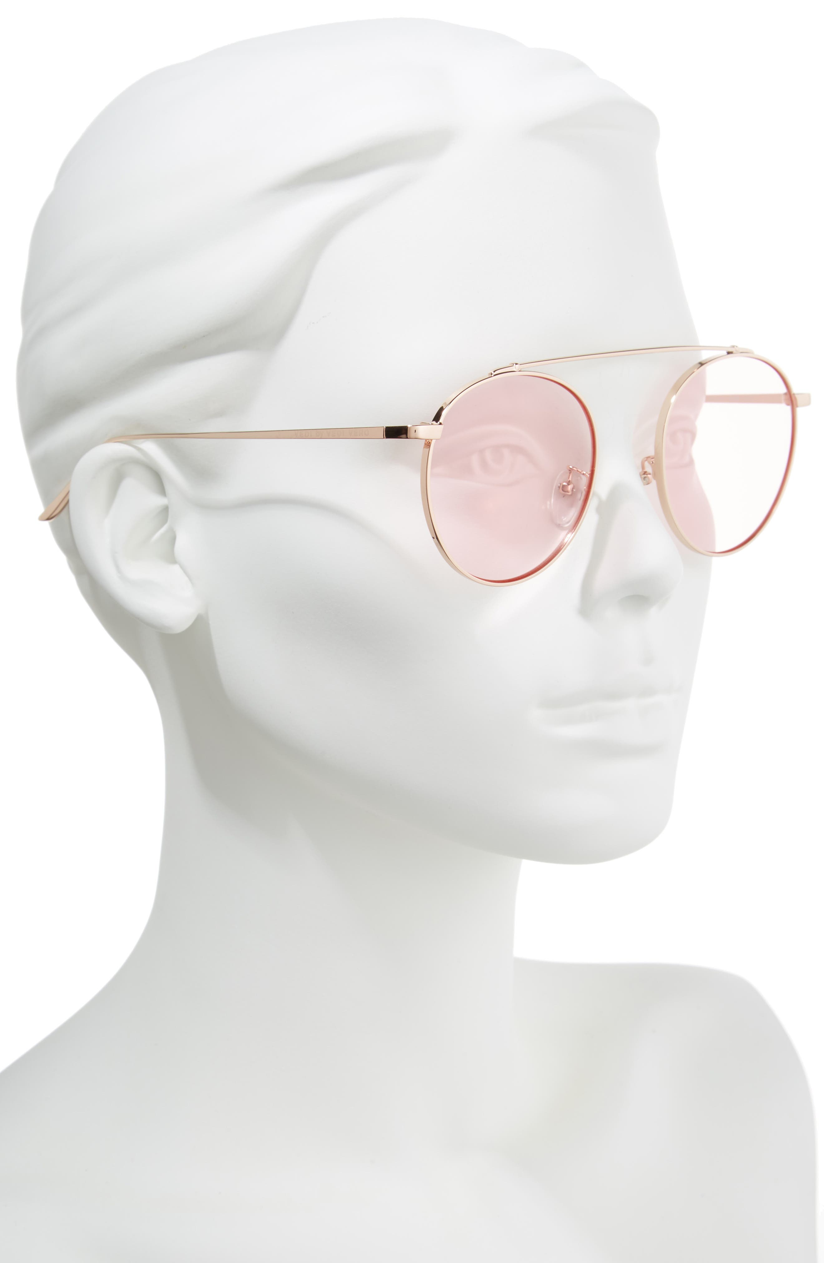 53mm Round Sunglasses,                             Alternate thumbnail 2, color,                             Rosegld/Pink