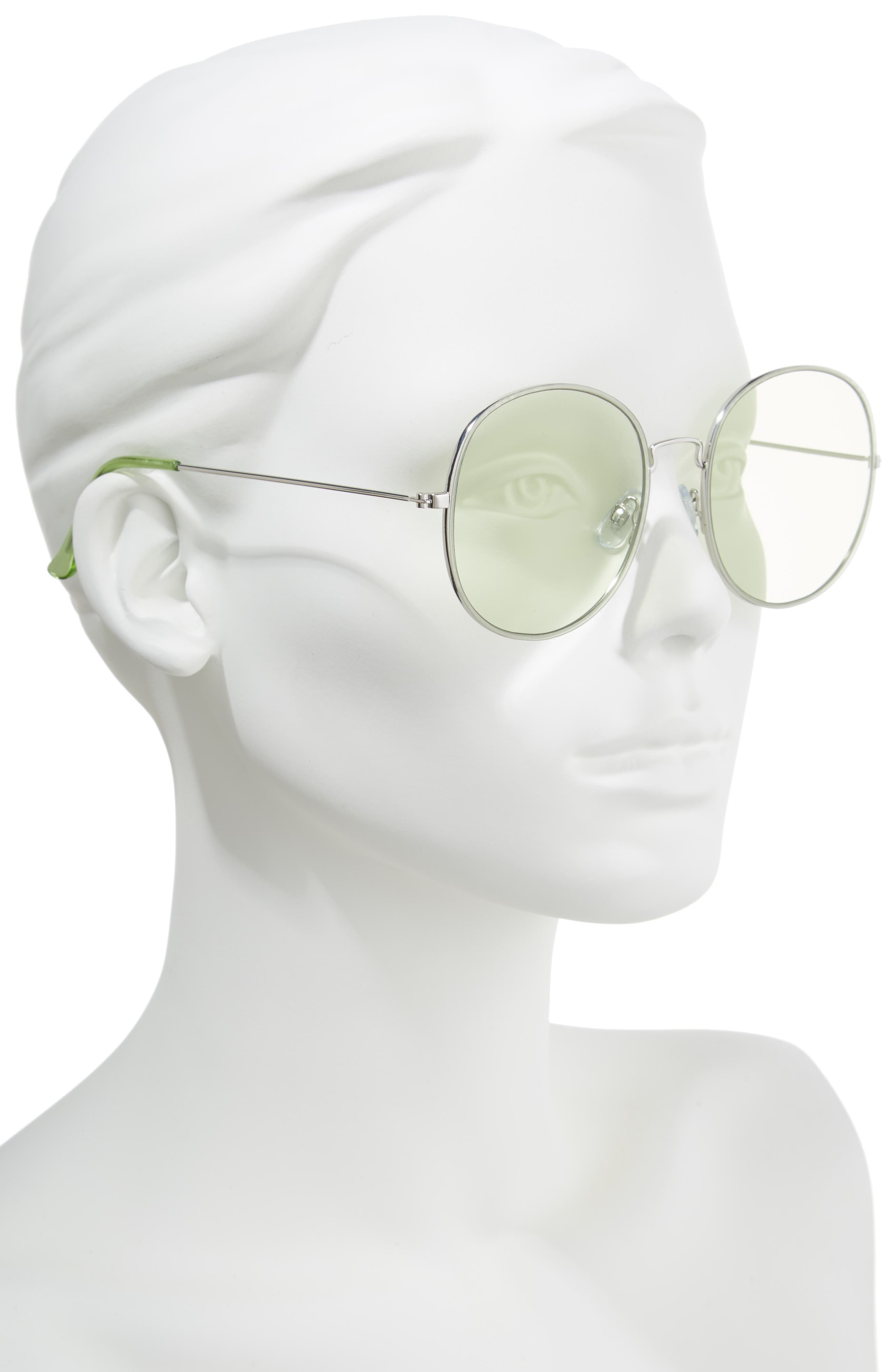 57mm Flat Round Sunglasses,                             Alternate thumbnail 2, color,                             Green