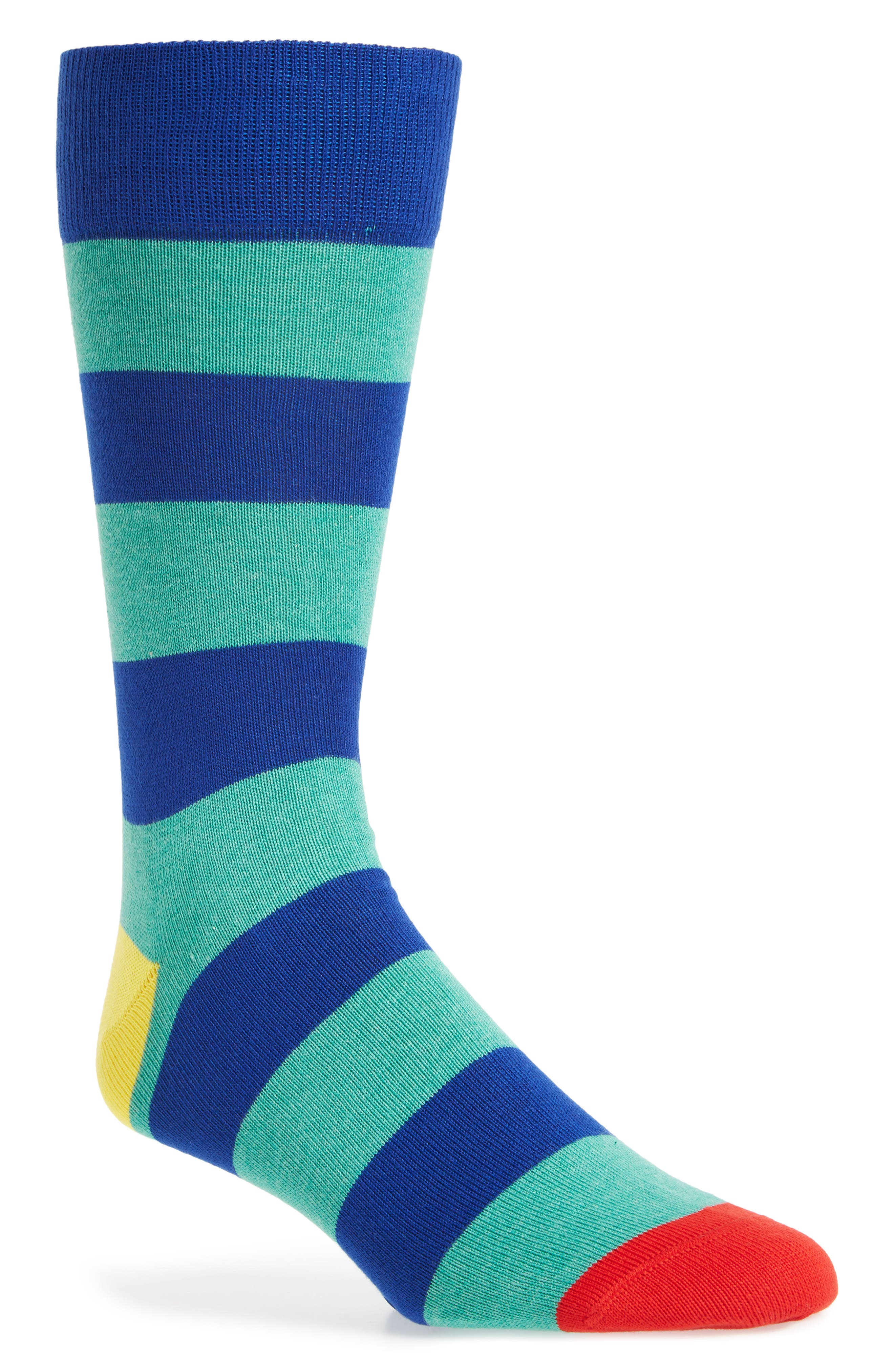 Stripe Socks,                         Main,                         color, Green/ Blue