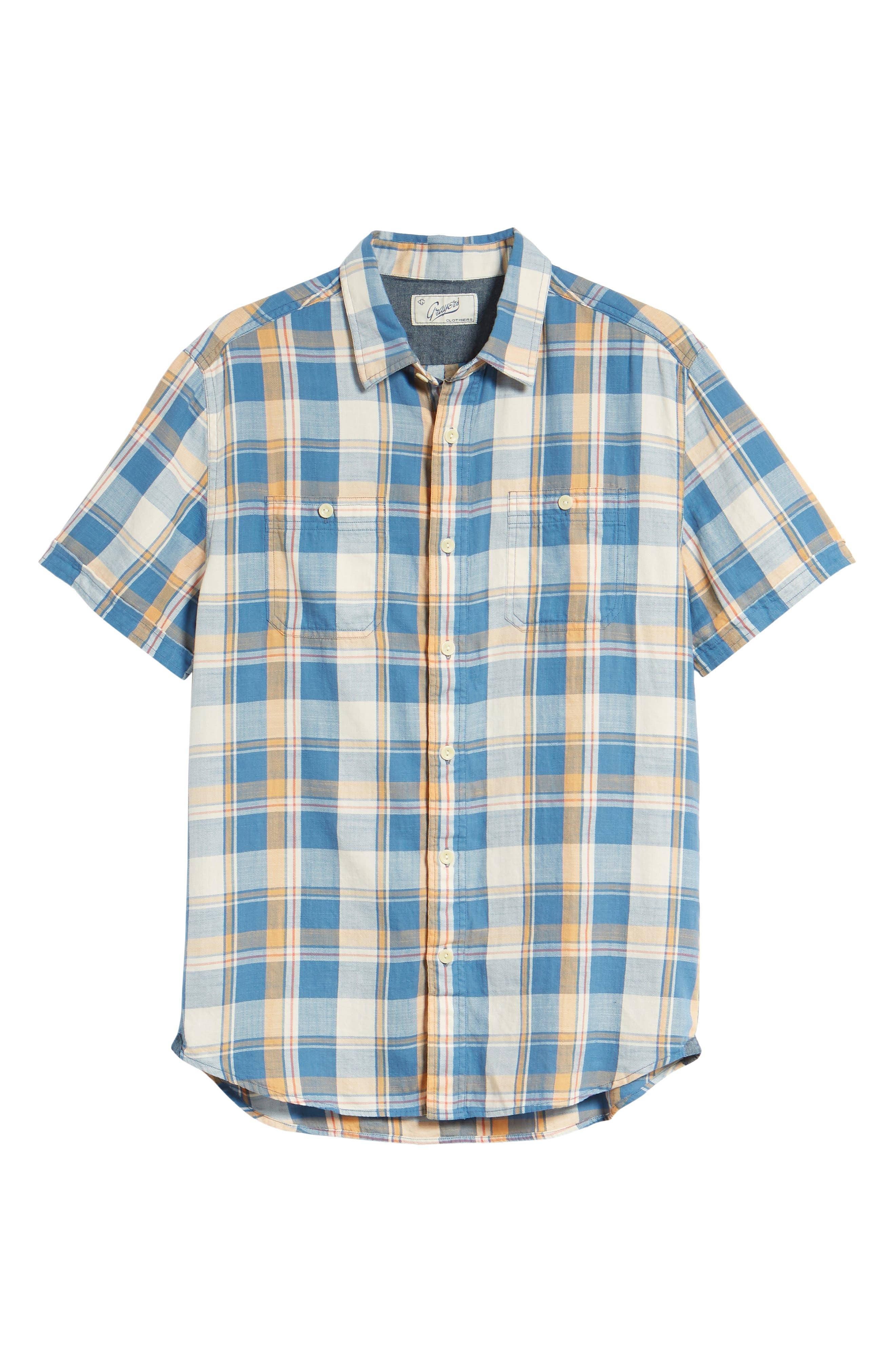 Sherman Plaid Slub Twill Sport Shirt,                             Alternate thumbnail 6, color,                             Blue Mustard Red