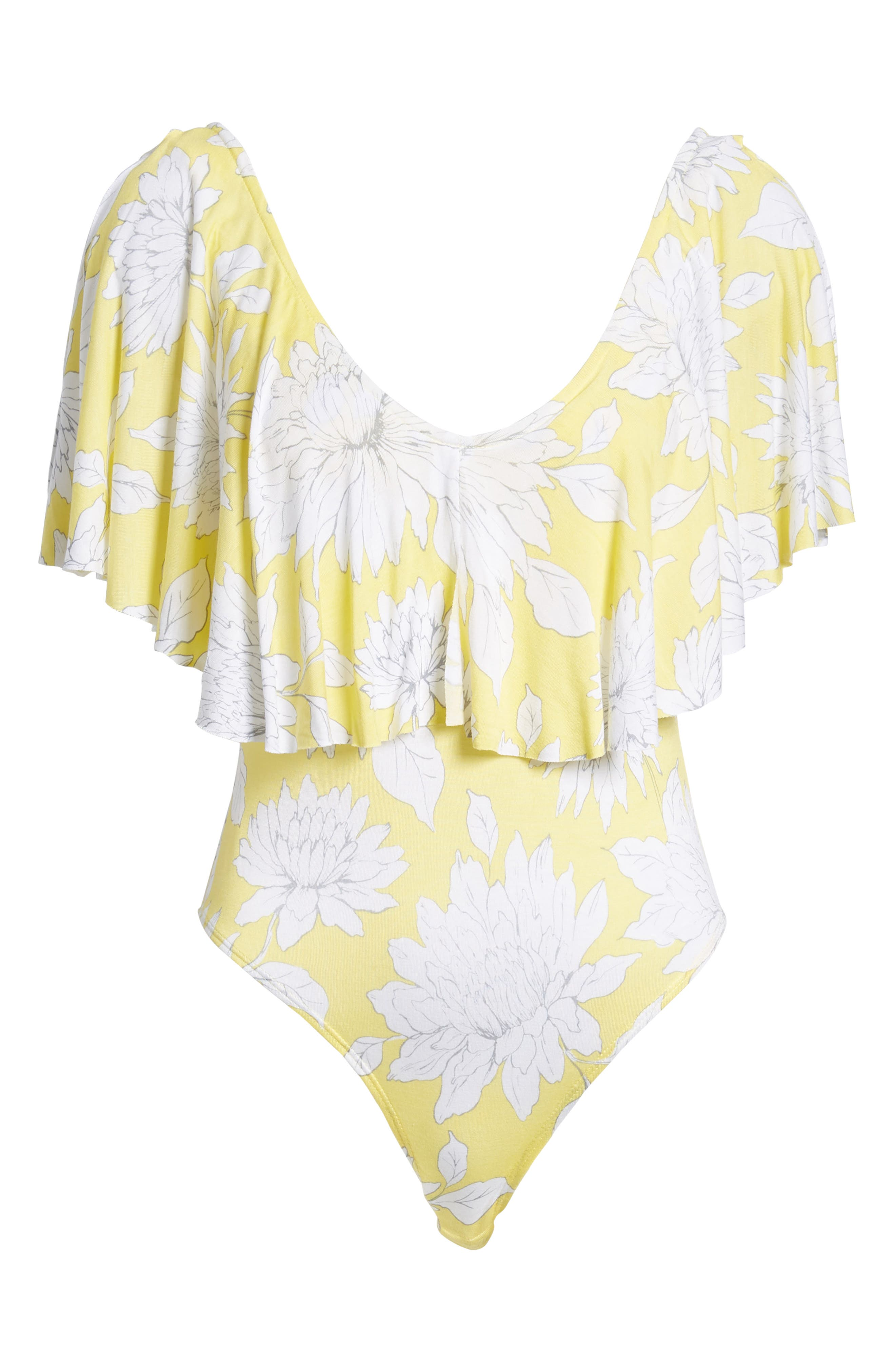 Print Ruffle Bodysuit,                             Alternate thumbnail 6, color,                             Yellow Glow Grunge Floral