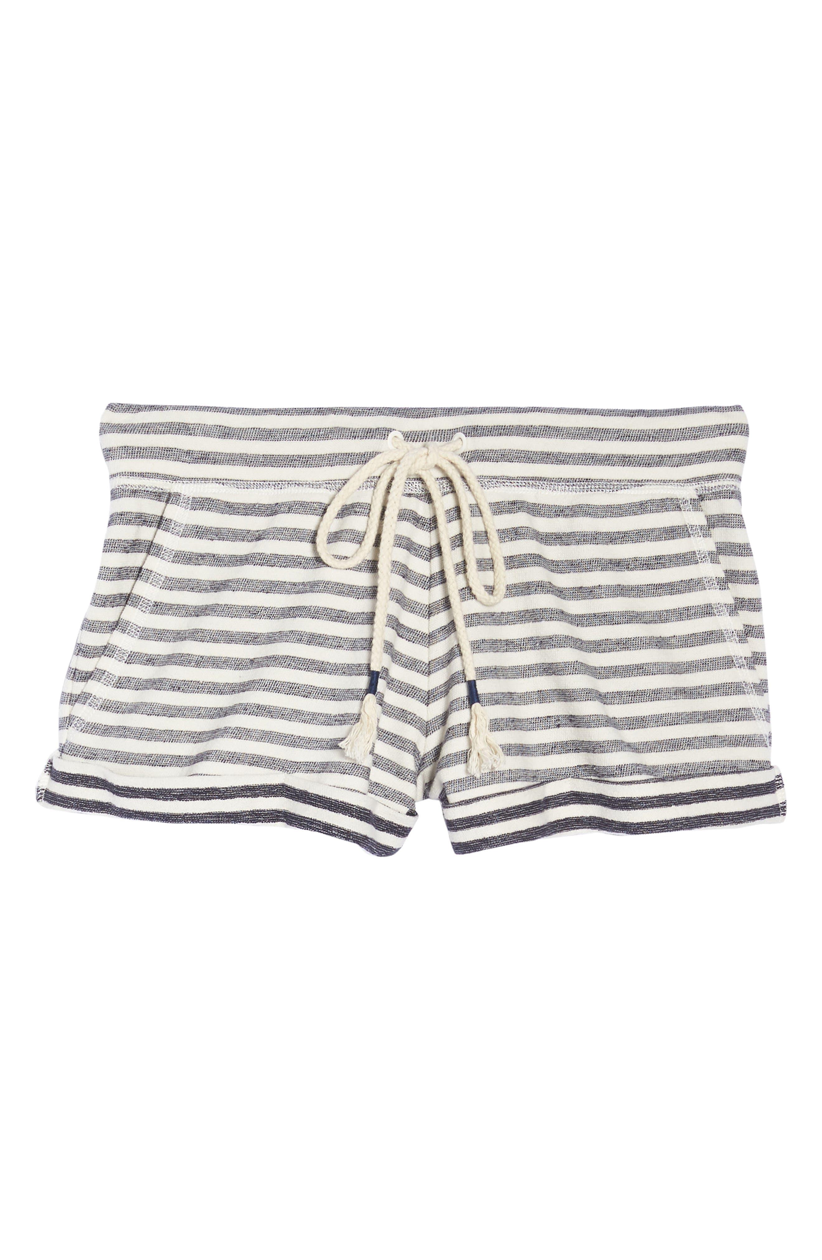 Stripe Pajama Shorts,                             Alternate thumbnail 7, color,                             Ivory/ Navy Stripe