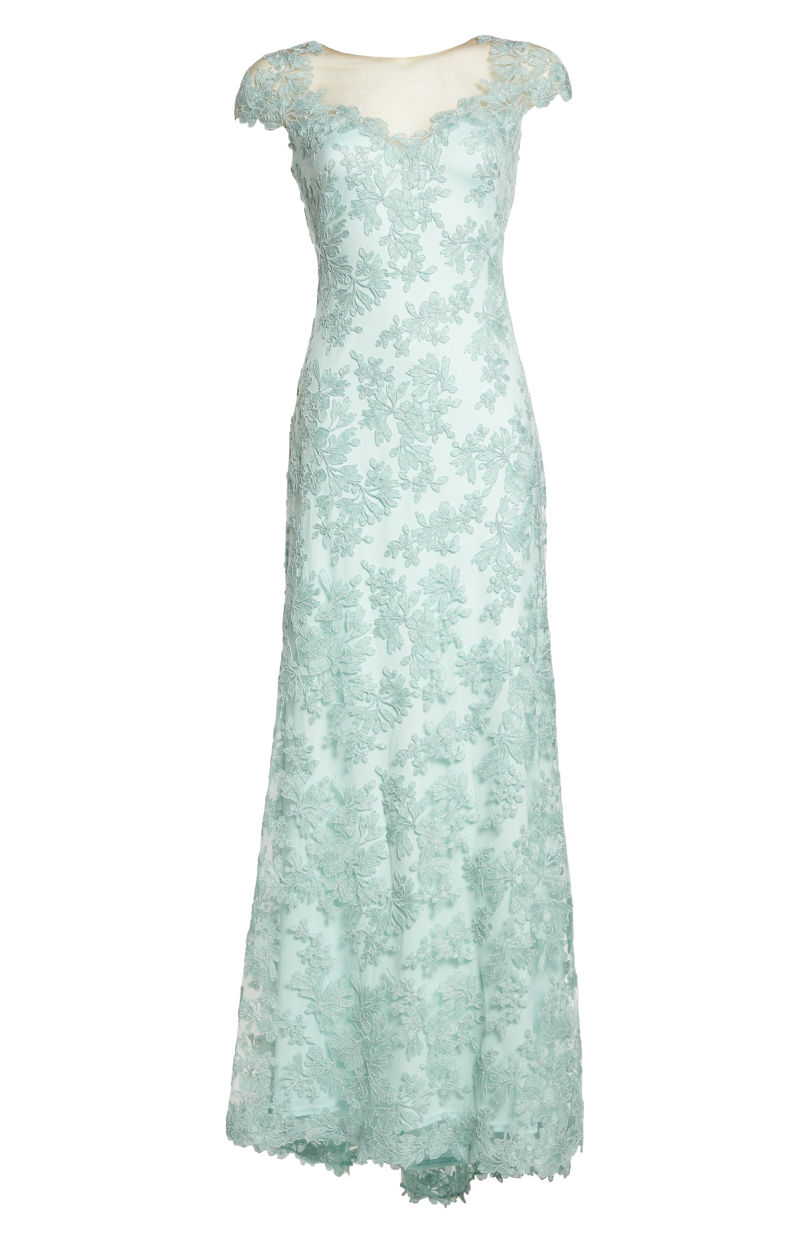 Embroidered Corded Lace Gown,                             Alternate thumbnail 6, color,                             Mint