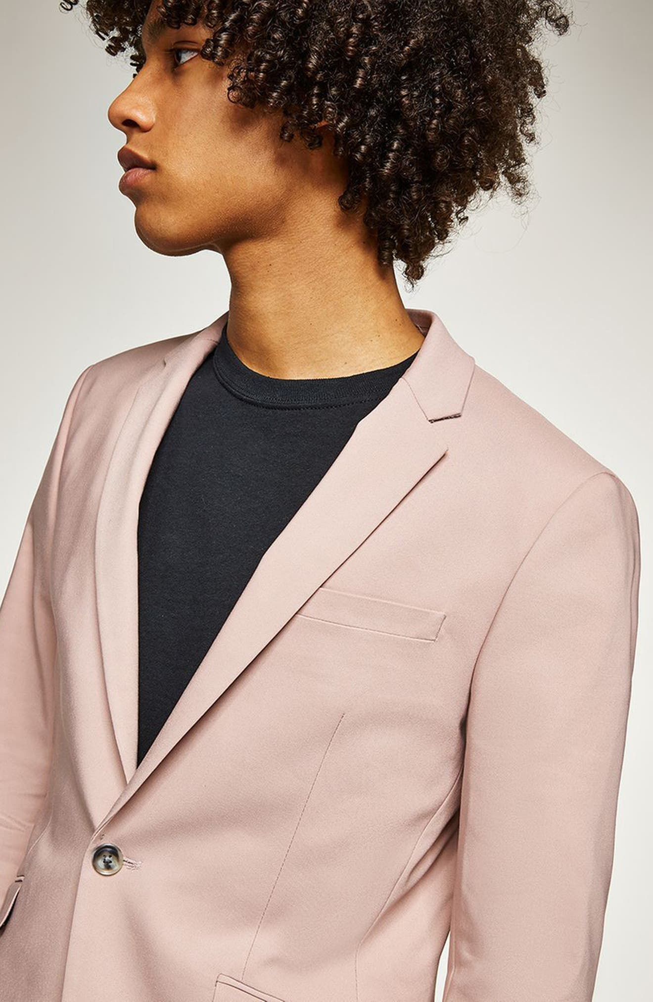 Skinny Fit Suit Jacket,                             Alternate thumbnail 2, color,                             Pink Multi