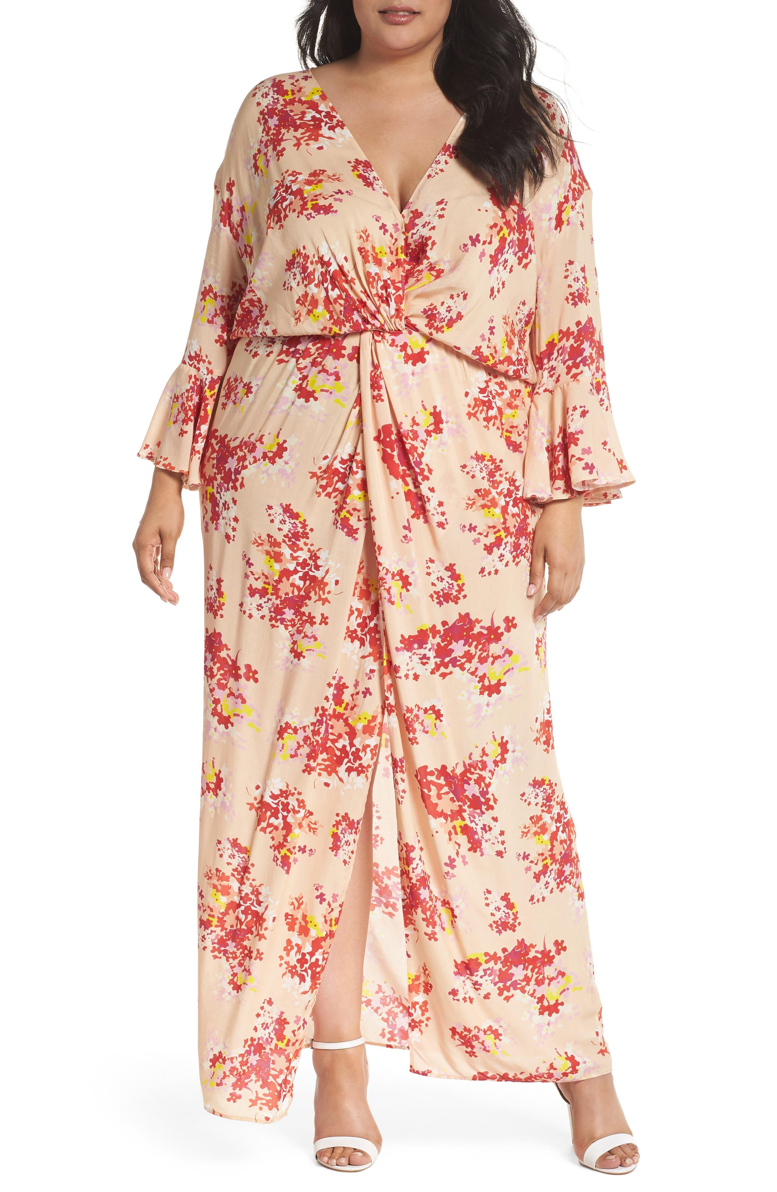 The Stasis Wrap Maxi Dress,                         Main,                         color, Peach