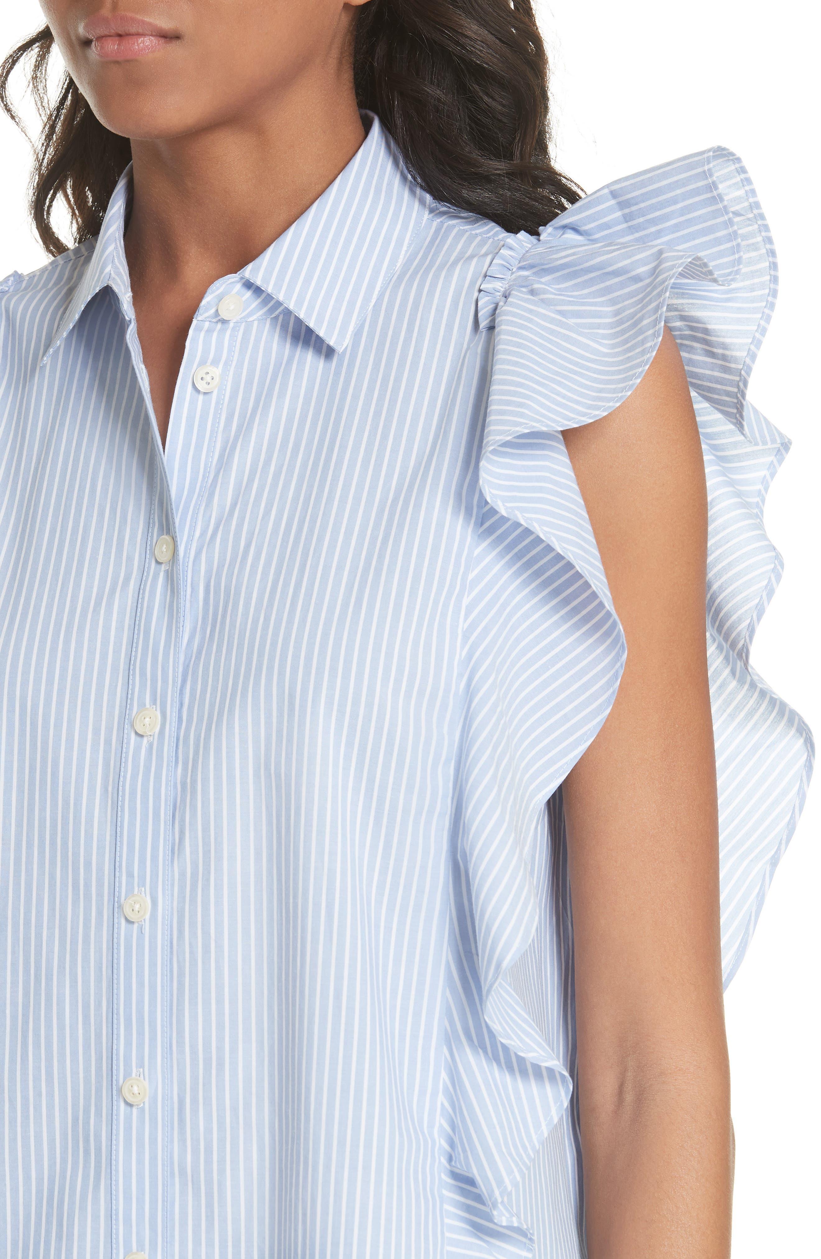 flutter sleeve stripe cotton blouse,                             Alternate thumbnail 4, color,                             Manatee/ Fresh White