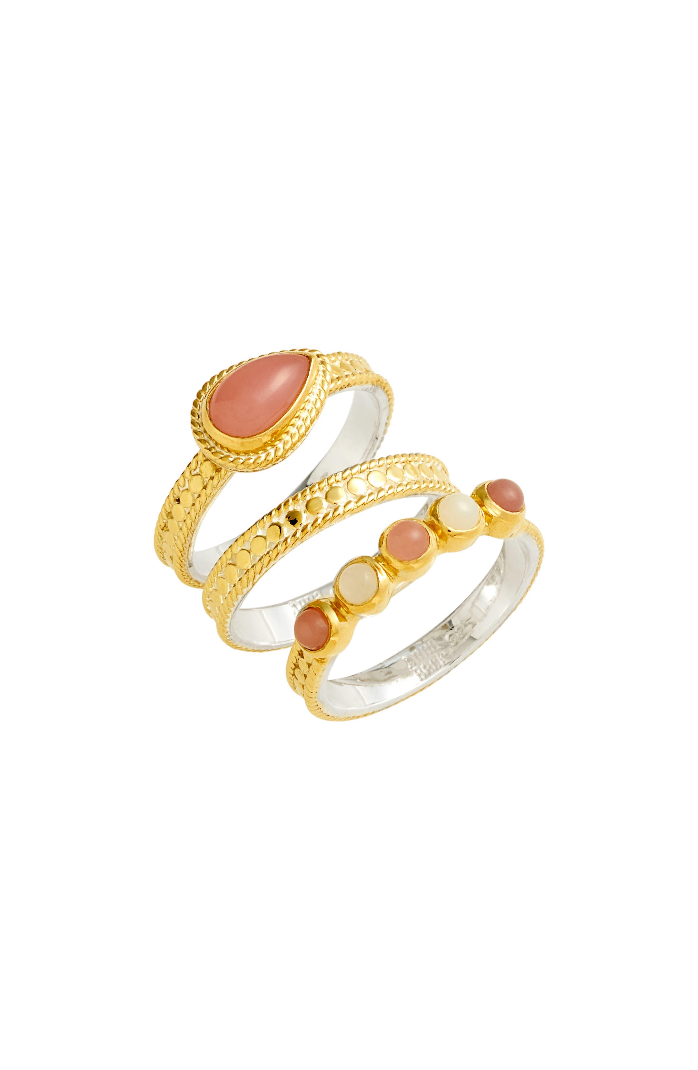 Guava Quartz & Moonstone Set of 3 Stacking Rings,                             Main thumbnail 1, color,                             Gold/ Guava/ Moonstone