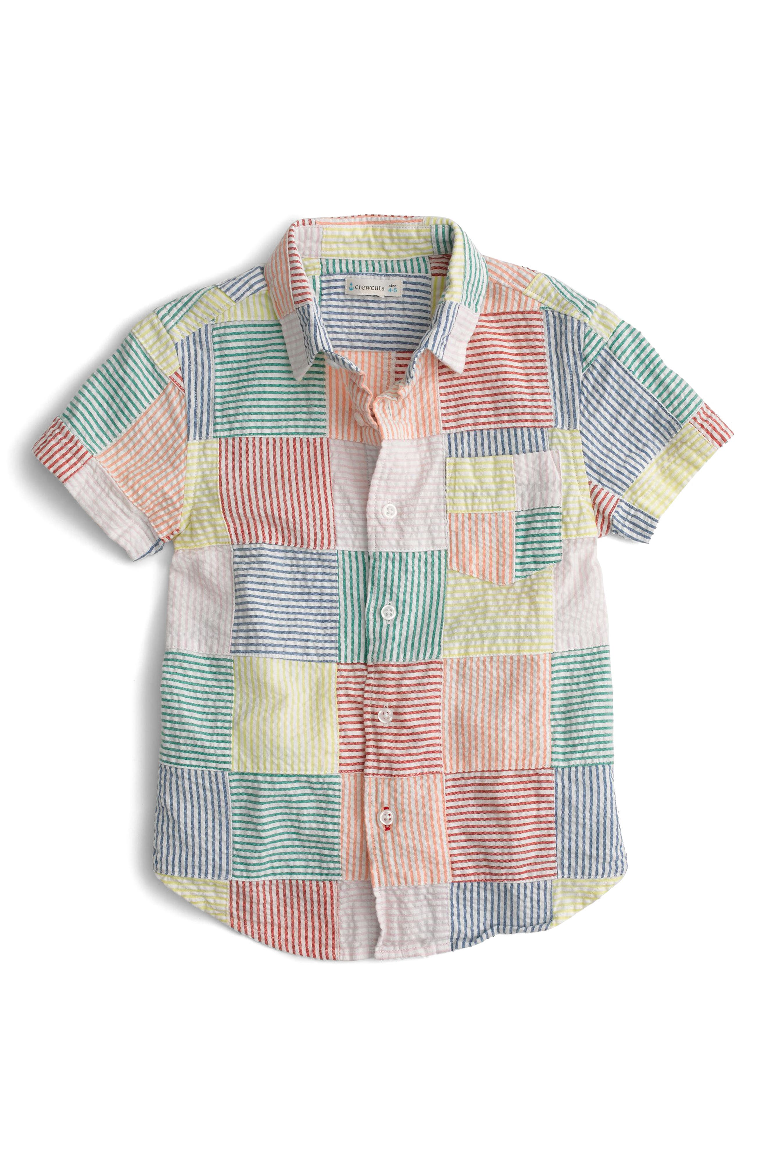 Patchwork Woven Shirt,                             Main thumbnail 1, color,                             Ivory Multi