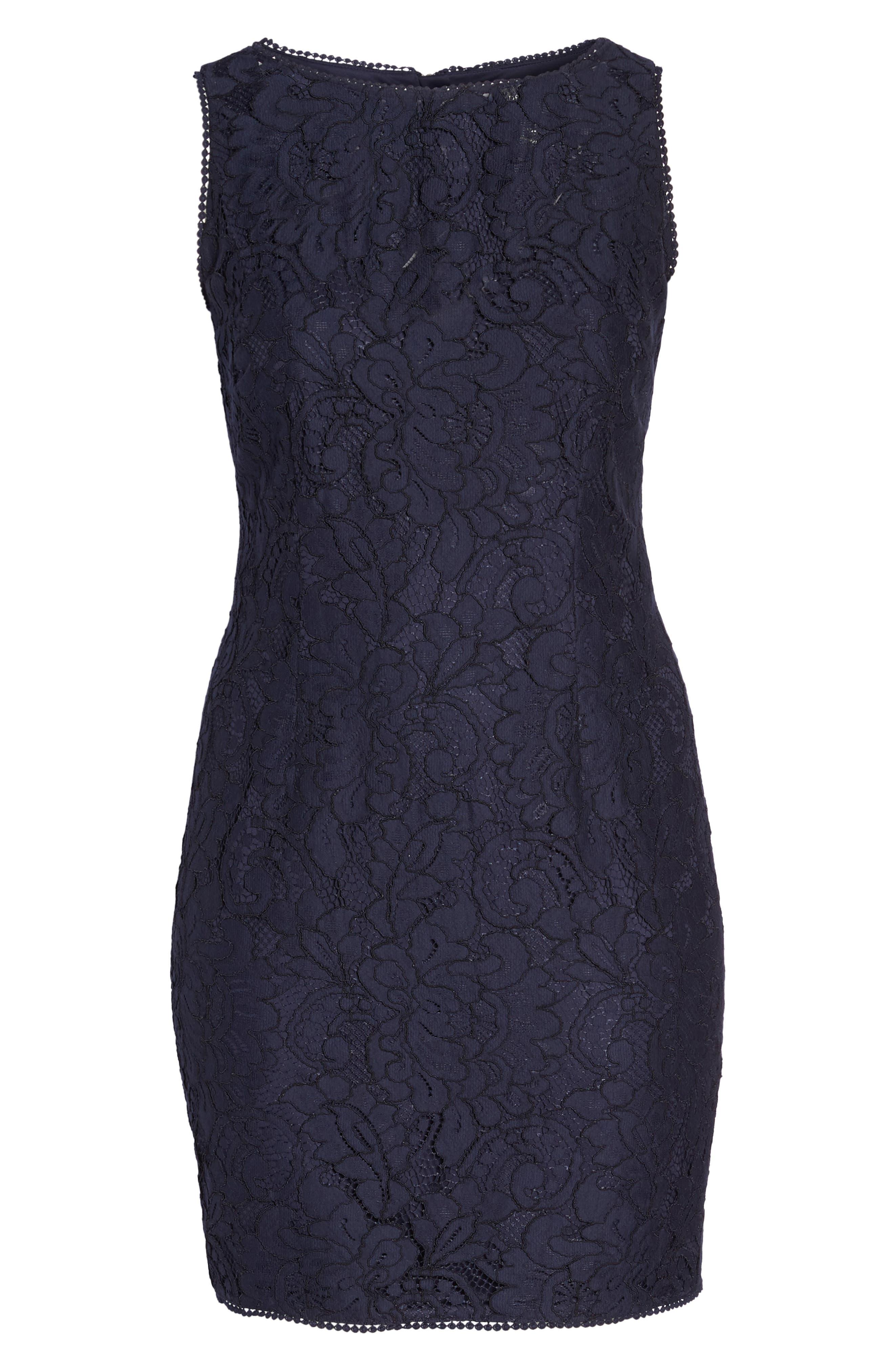 Lace Sheath Dress,                             Alternate thumbnail 7, color,                             Navy