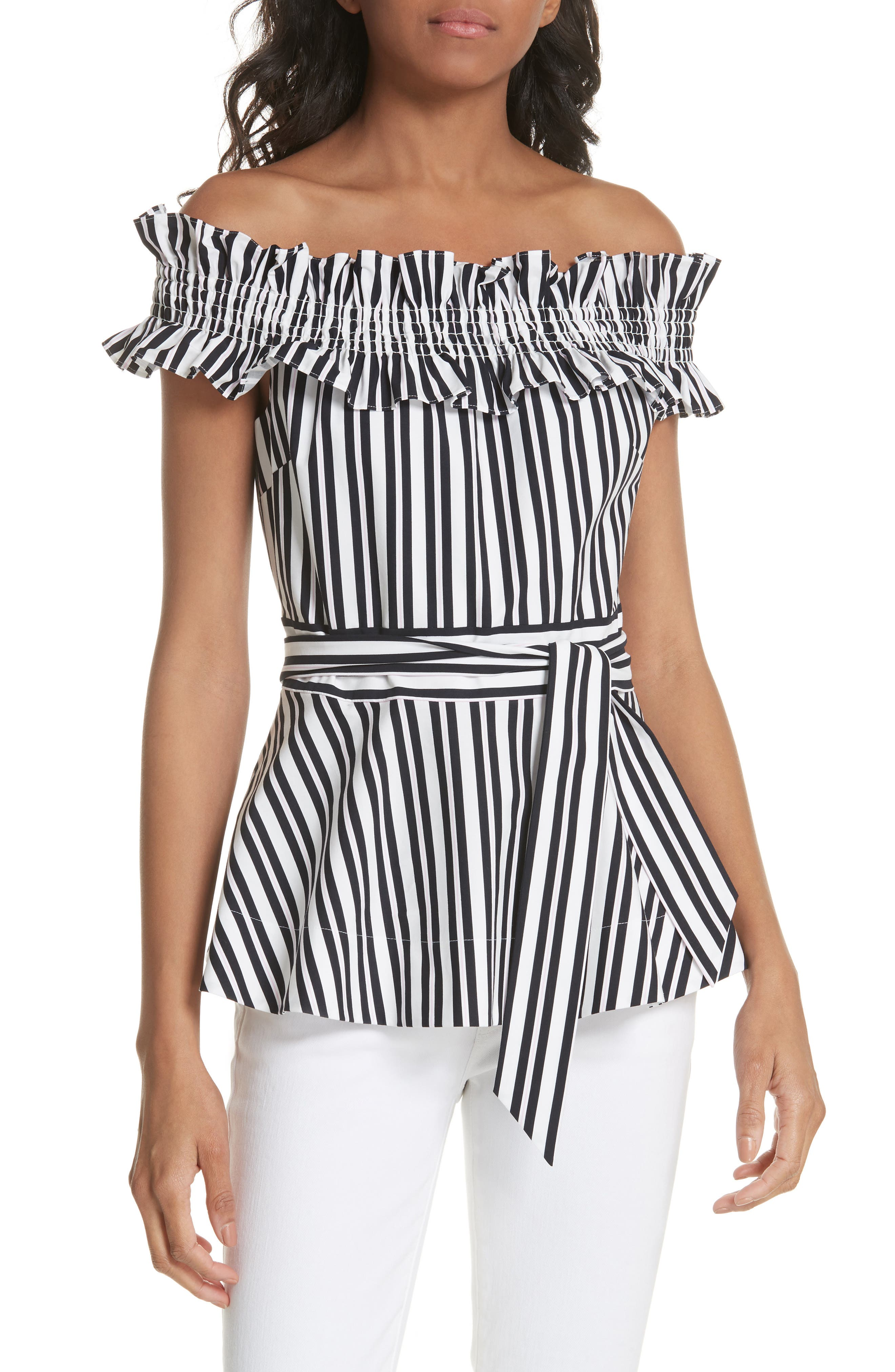 kate spade new york candy stripe off the shoulder ruffle stretch cotton top