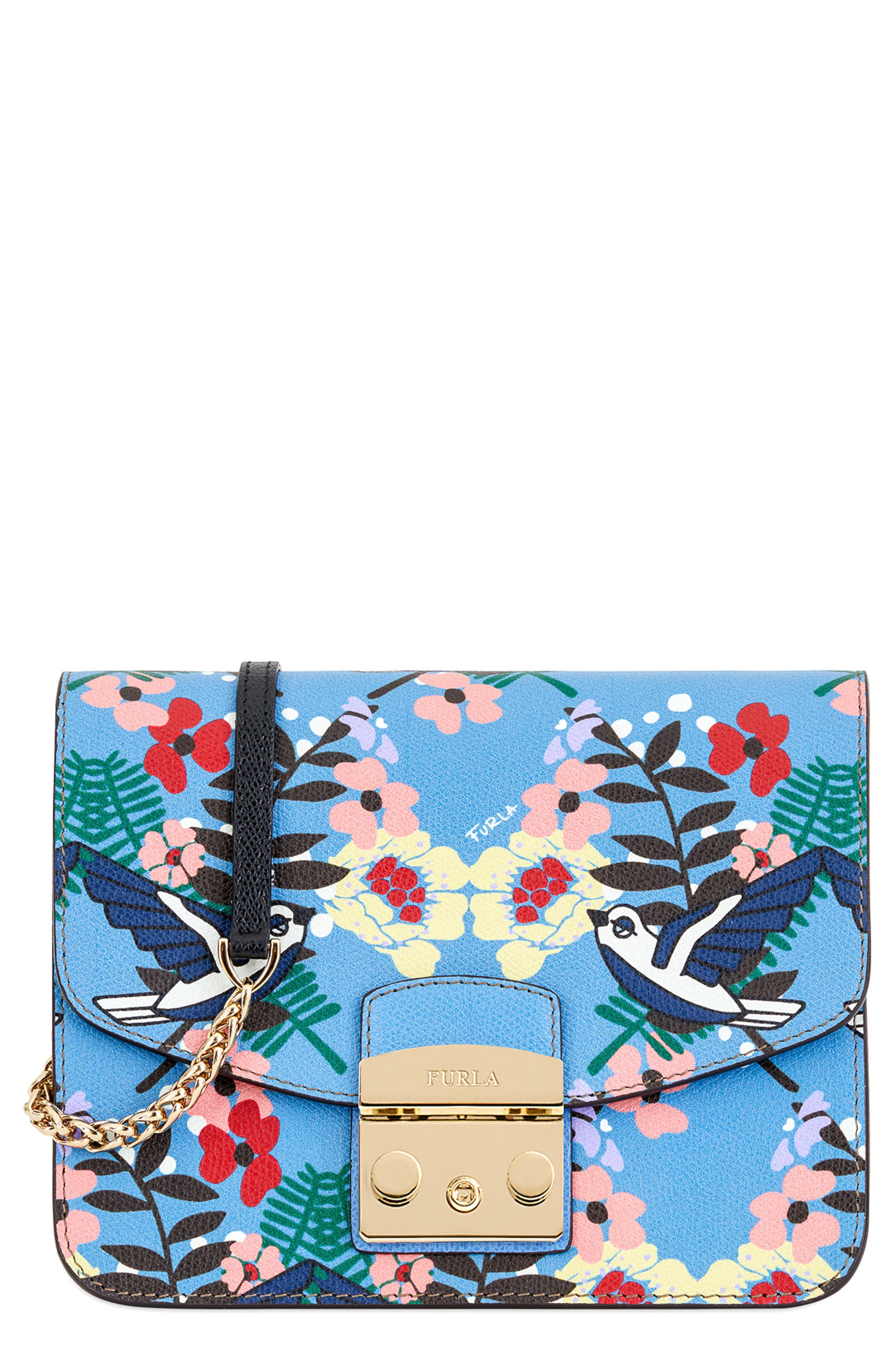 Small Metropolis Print Leather Crossbody Bag,                         Main,                         color, Toni Celeste