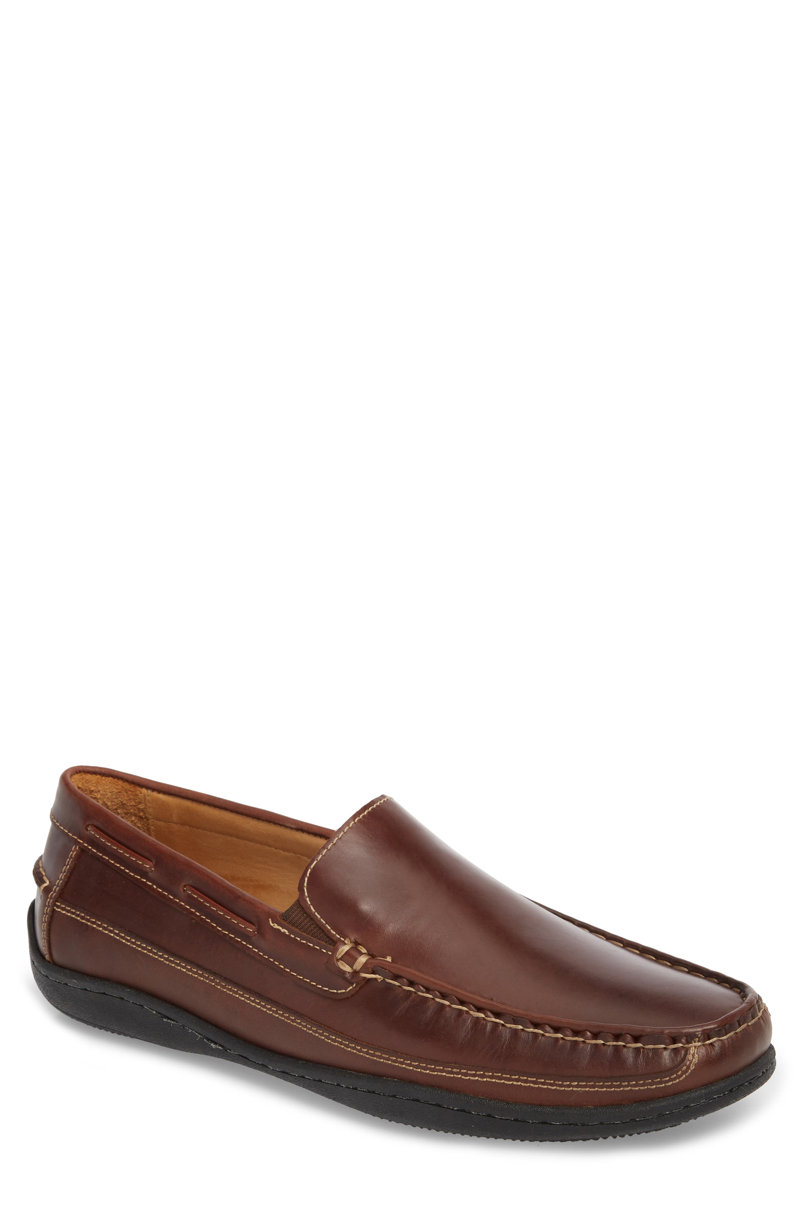 Fowler Moc Toe Loafer,                             Main thumbnail 1, color,                             Mahogany Leather