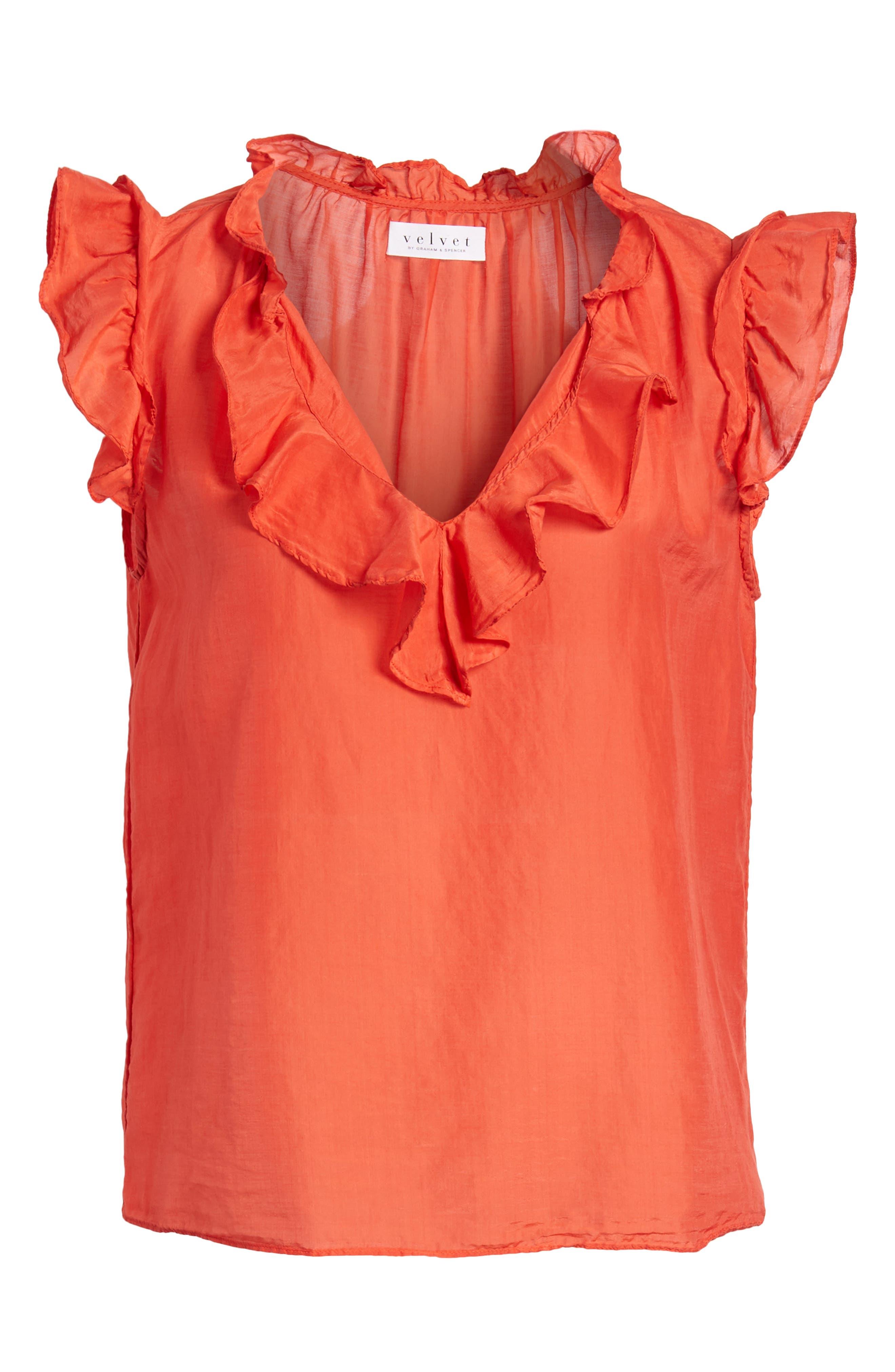 Silk and Cotton Ruffled Top,                             Alternate thumbnail 7, color,                             Cardinal