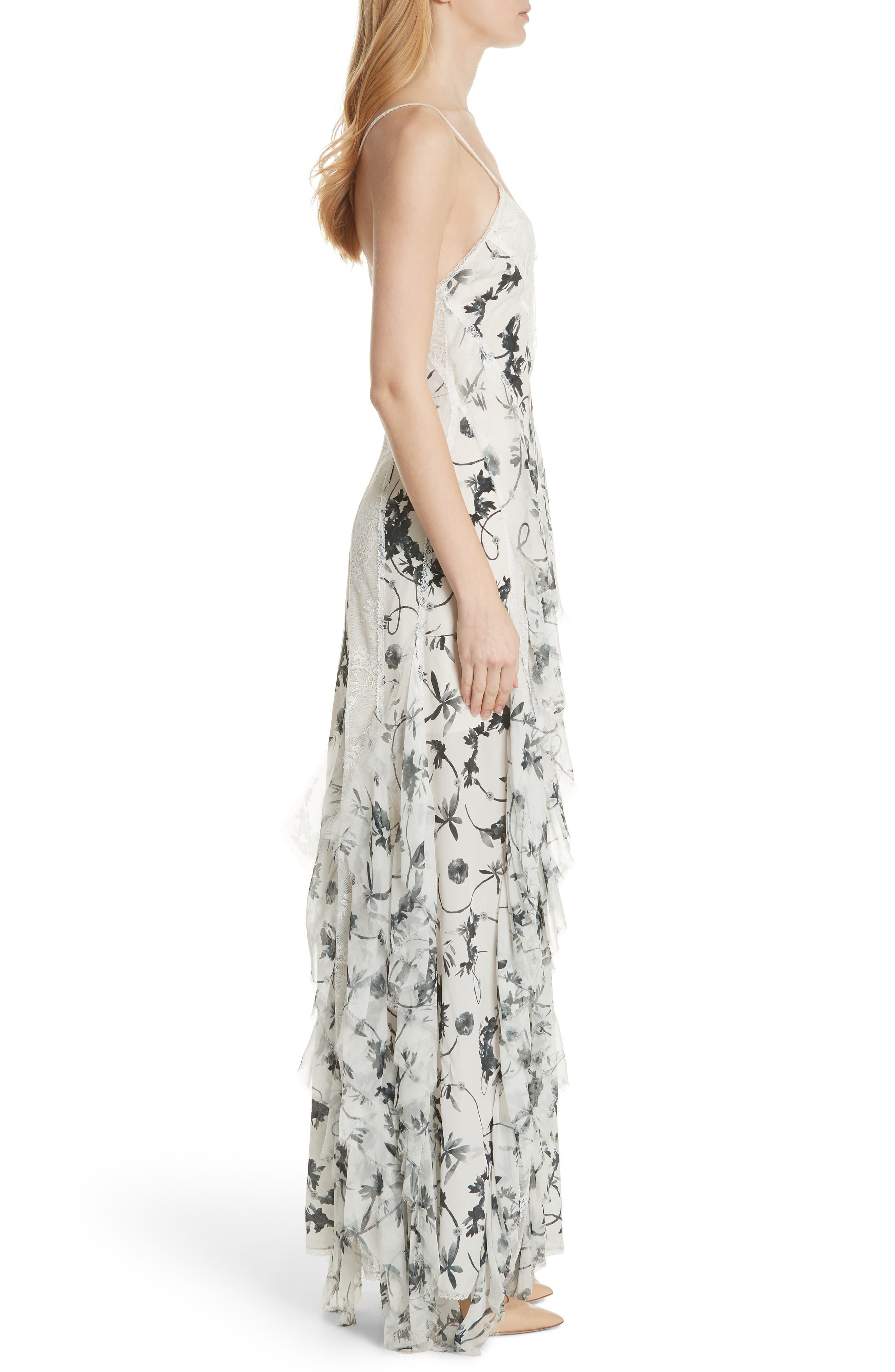 Jayda Godet Lace Inset Silk Maxi Dress,                             Alternate thumbnail 3, color,                             Floral Crown