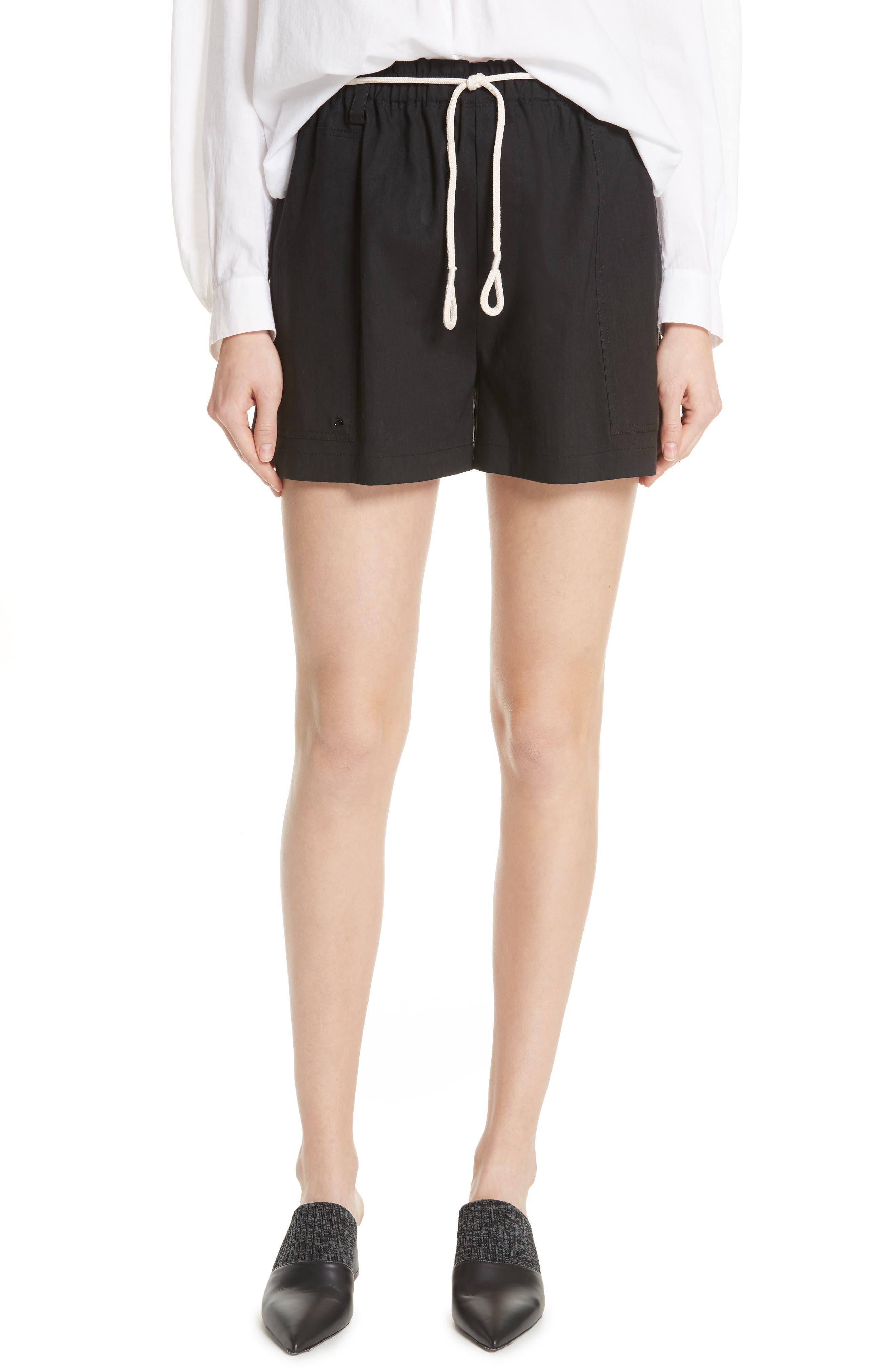 Rope Tie Linen Blend Shorts,                             Main thumbnail 1, color,                             Black