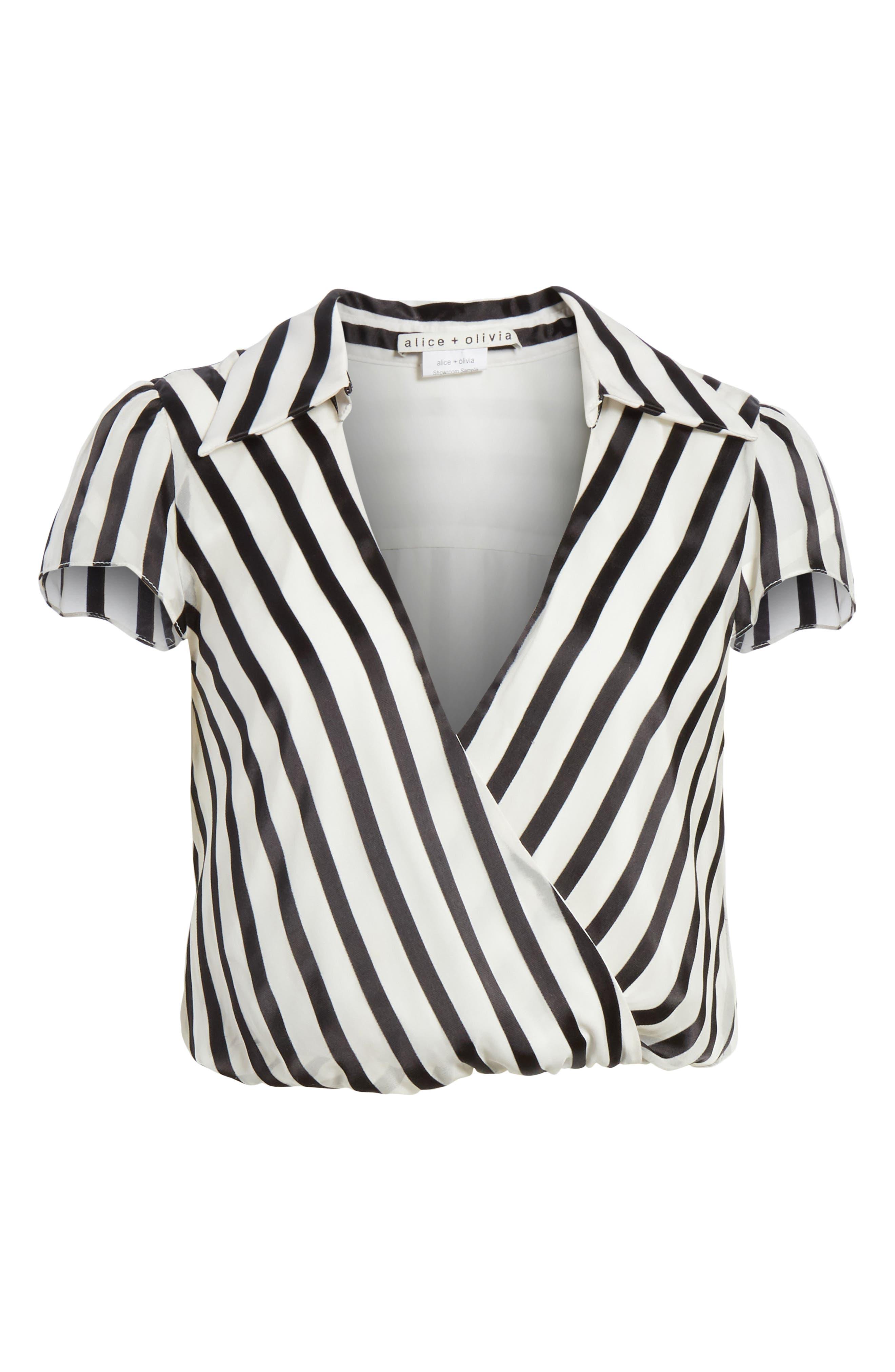 Dayer Drape Mock Wrap Silk Blend Blouse,                             Alternate thumbnail 6, color,                             Monochrome Stripe