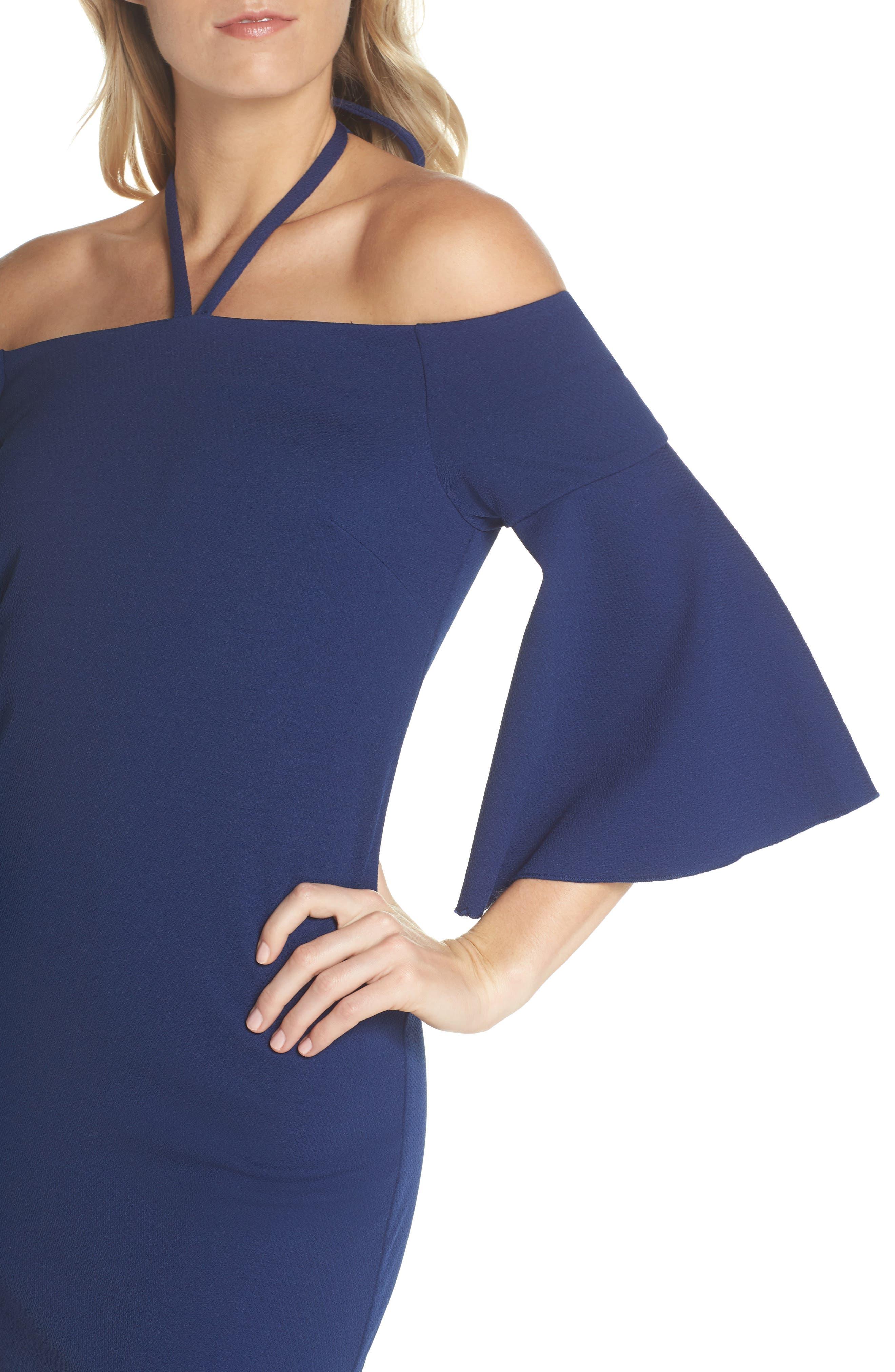 Shell Beach Bell Sleeve Halter Dress,                             Alternate thumbnail 4, color,                             Bondi Blue