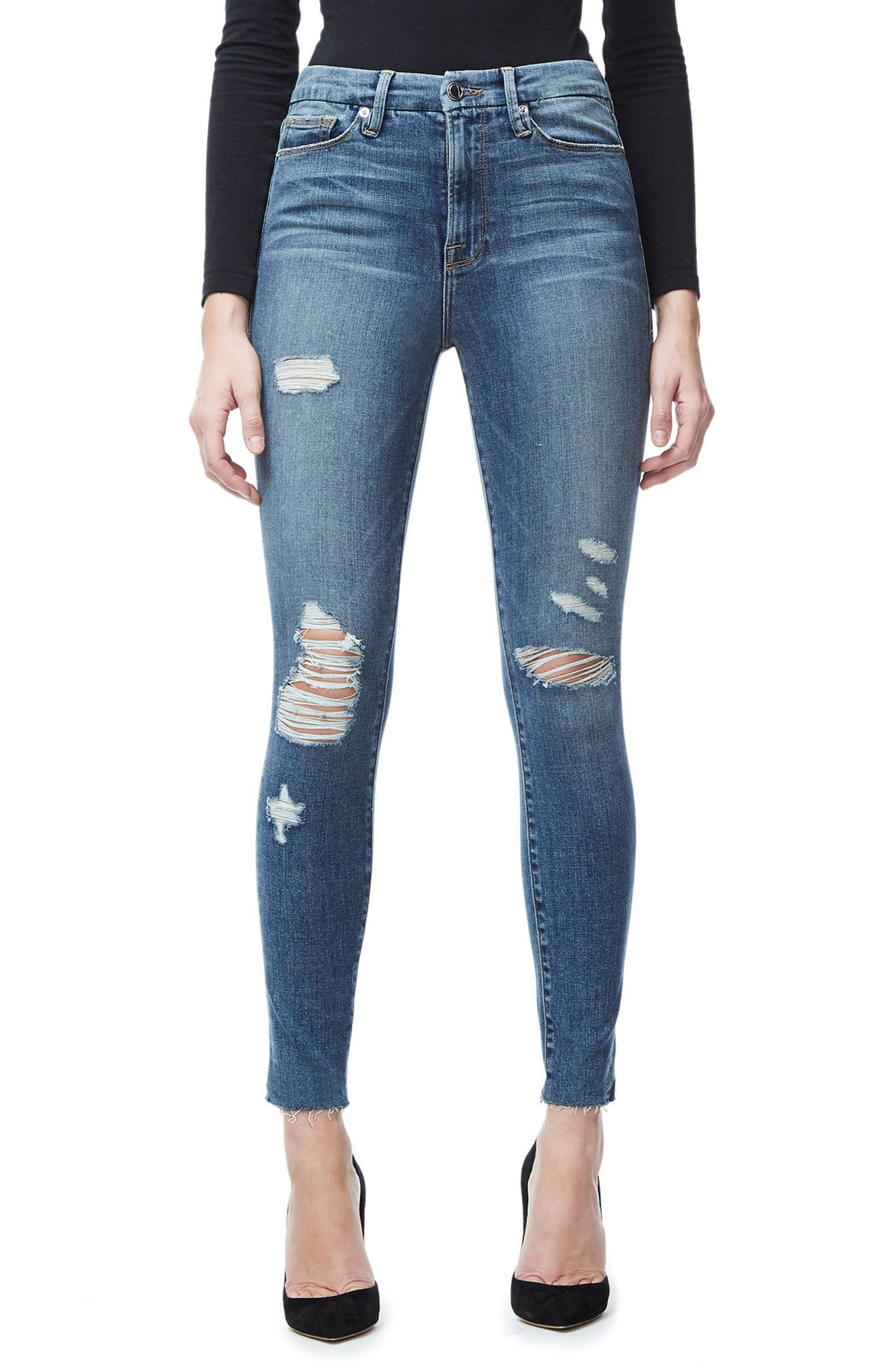 Good Waist Crop Skinny Jeans,                         Main,                         color, Blue026