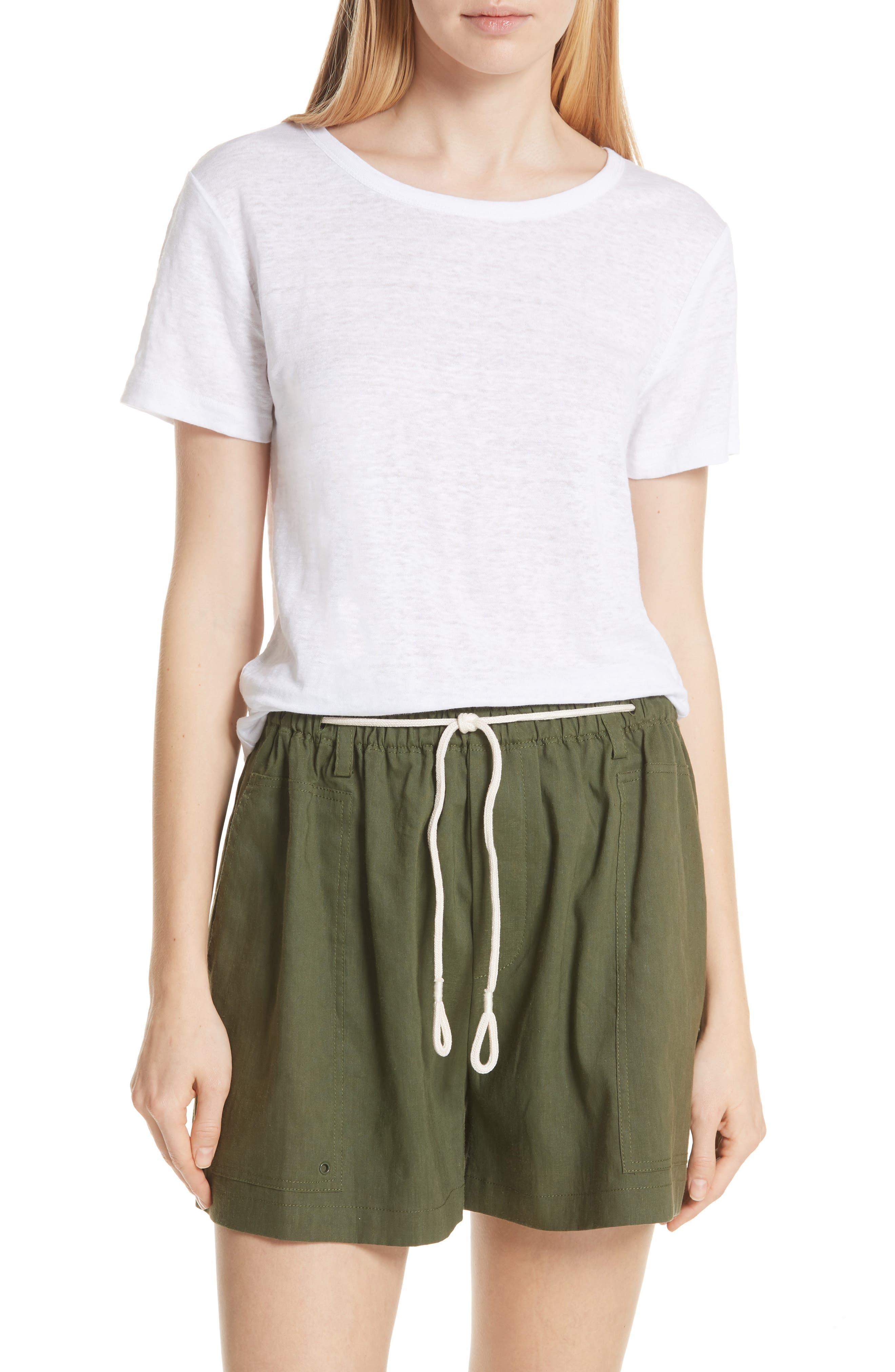 Linen Short Sleeve Top,                         Main,                         color, Optic White