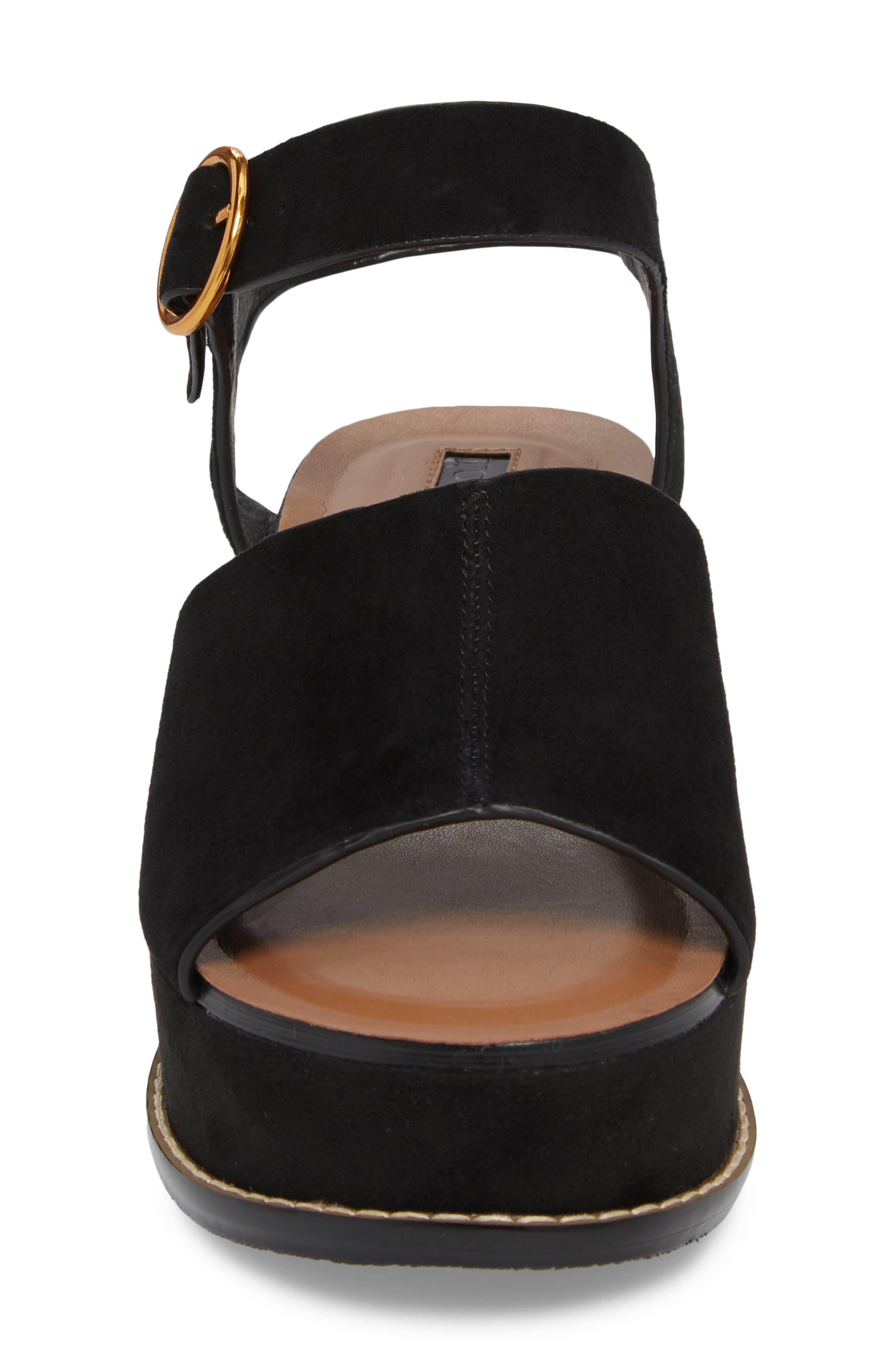 Wow Platform Wedge Sandal,                             Alternate thumbnail 4, color,                             Black