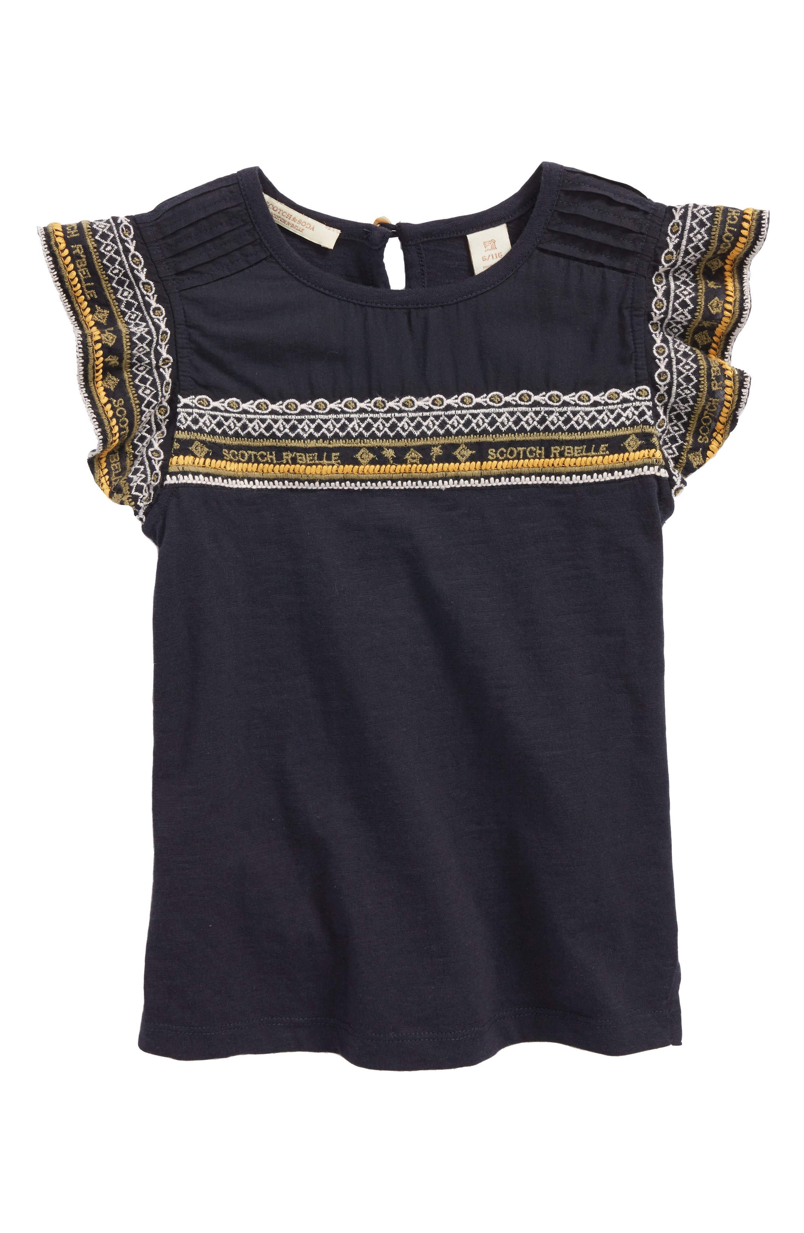 Scotch R'Belle Embroidered Ruffle Top,                         Main,                         color, 002 Navt