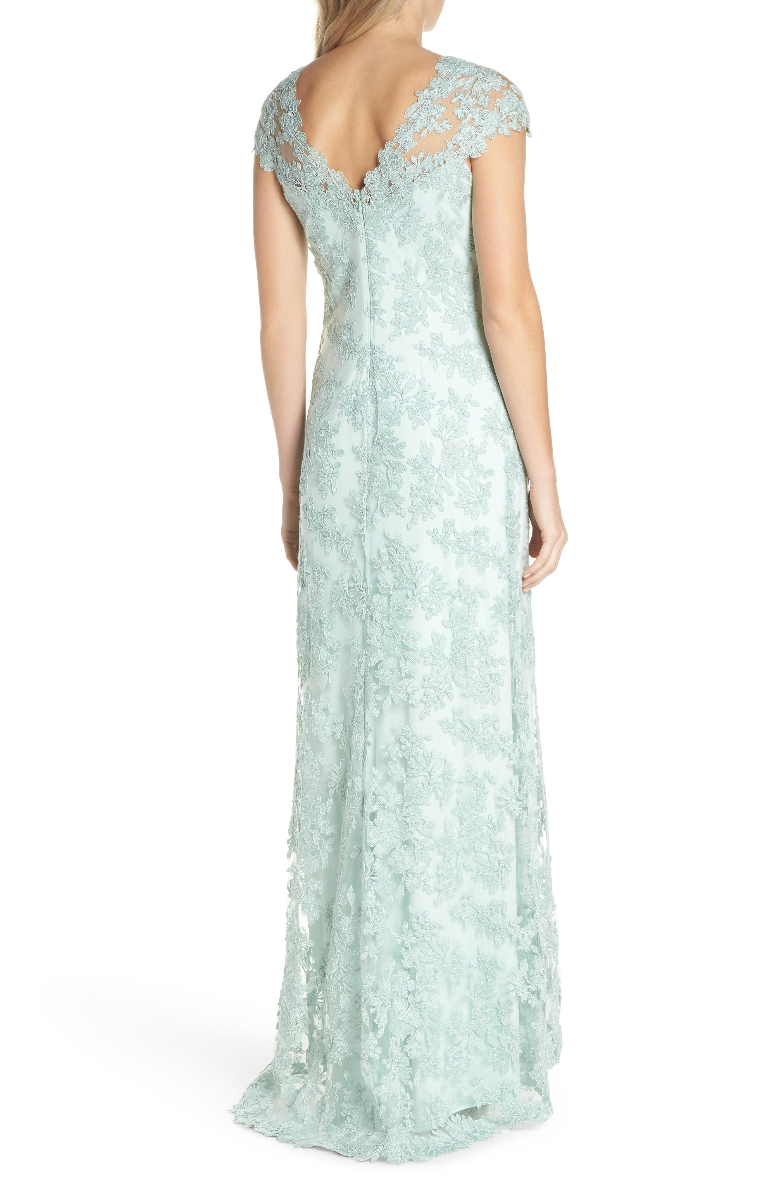 Embroidered Corded Lace Gown,                             Alternate thumbnail 2, color,                             Mint