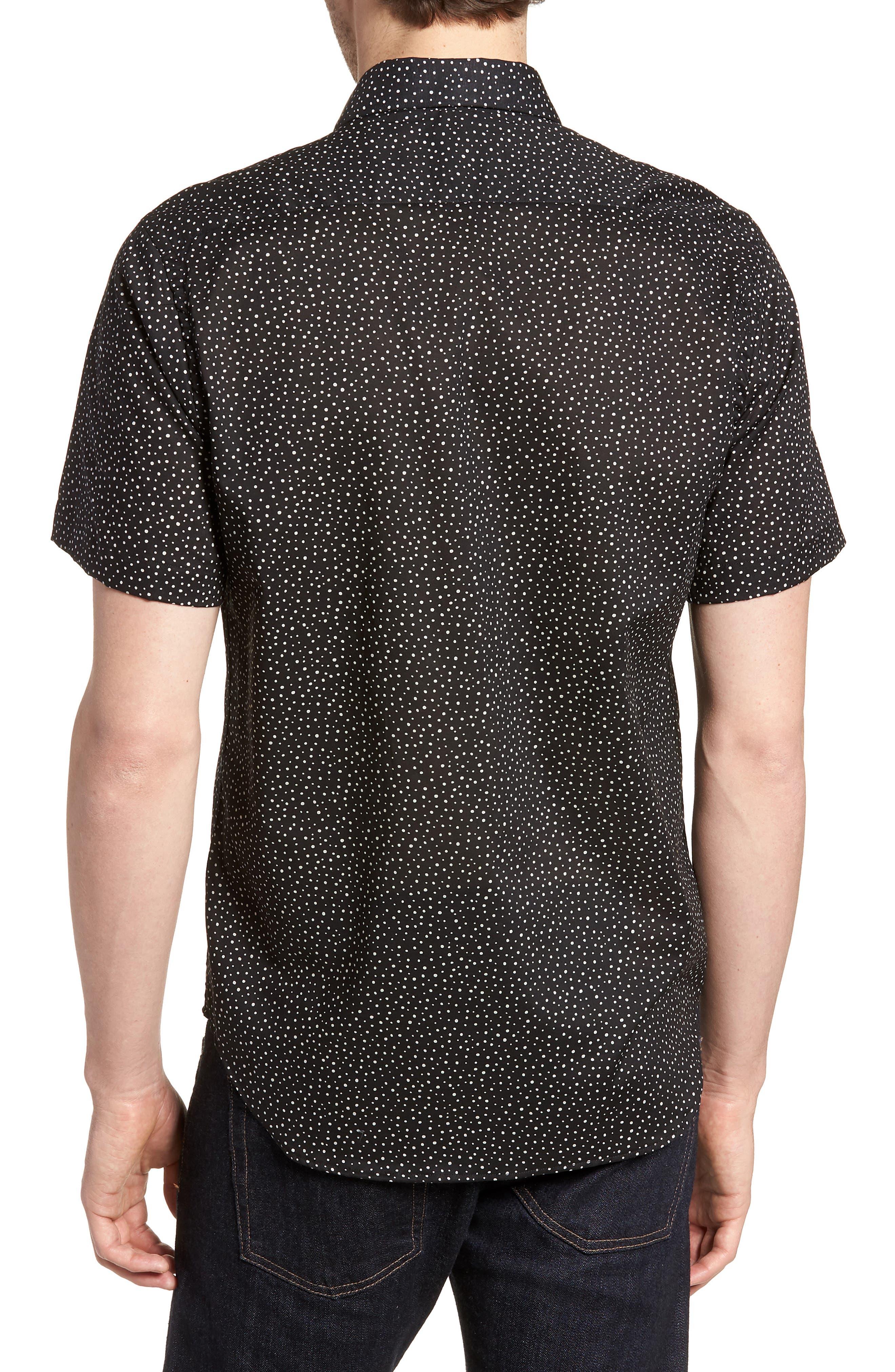 Tyler Novelty Trim Fit Sport Shirt,                             Alternate thumbnail 3, color,                             Black