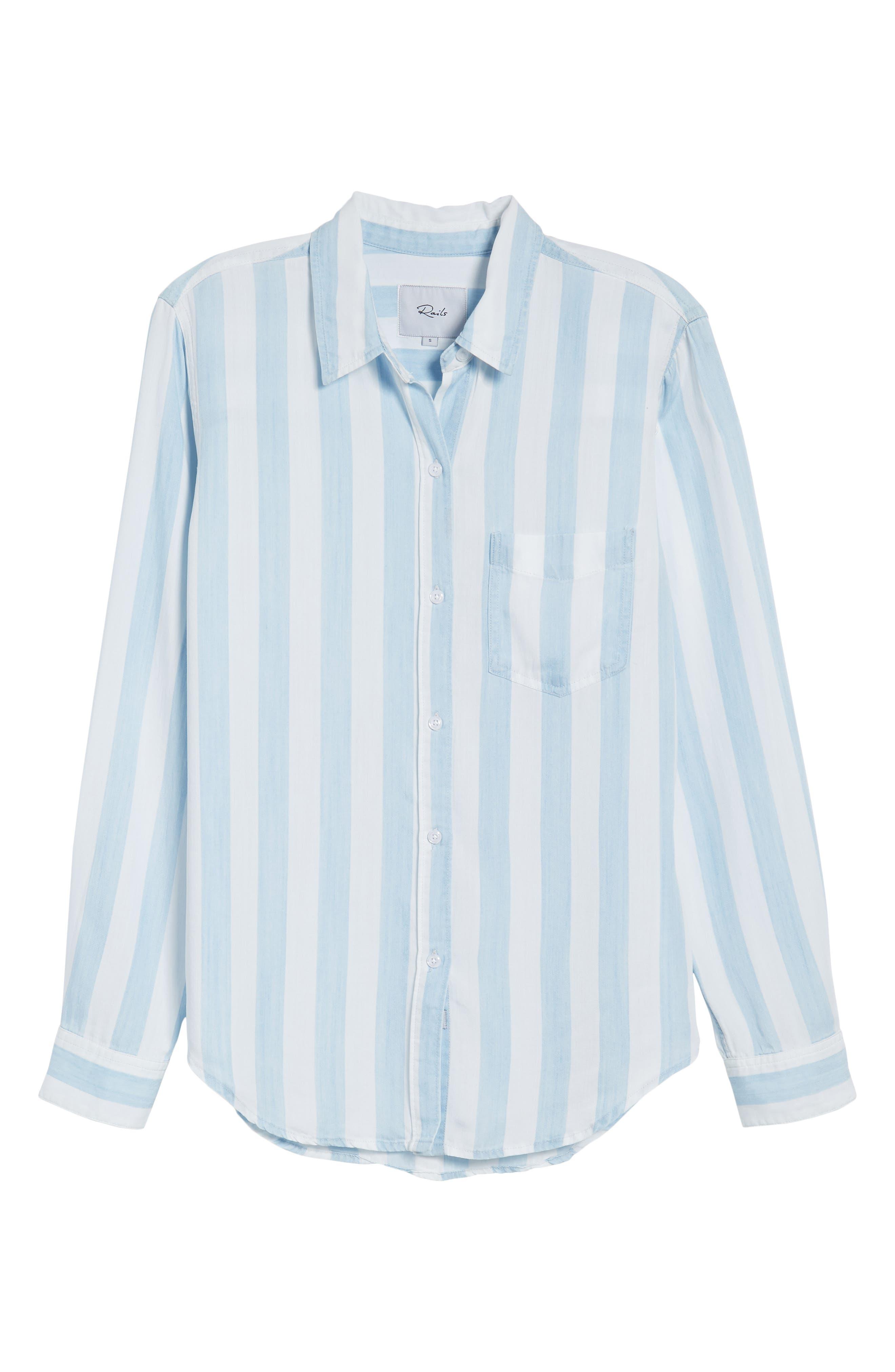 Ingrid Stripe Chambray Shirt,                             Alternate thumbnail 7, color,                             Block Stripe
