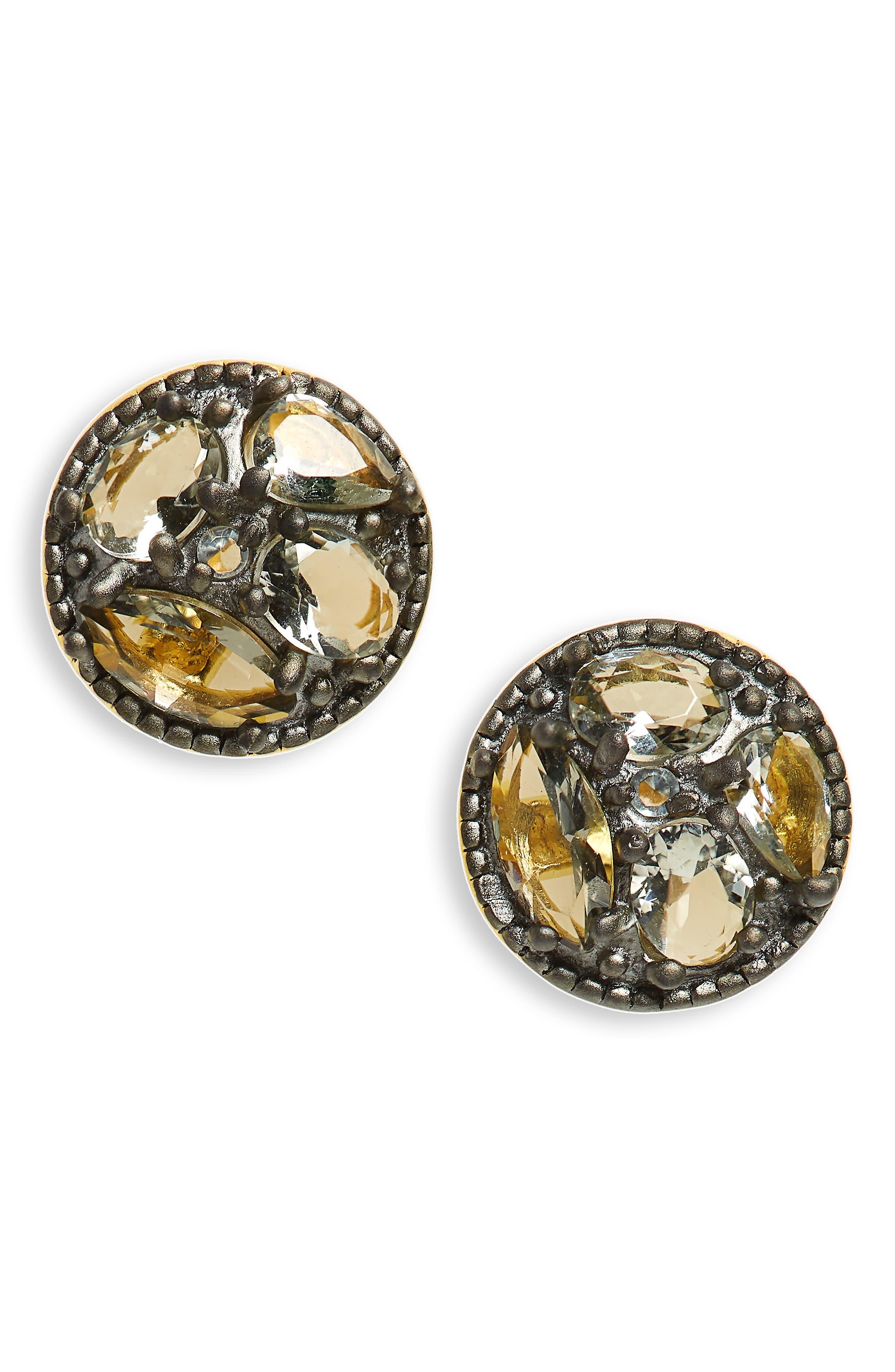 Rose Dor Small Disc Earrings,                             Main thumbnail 1, color,                             Black Rhodium/ Gold
