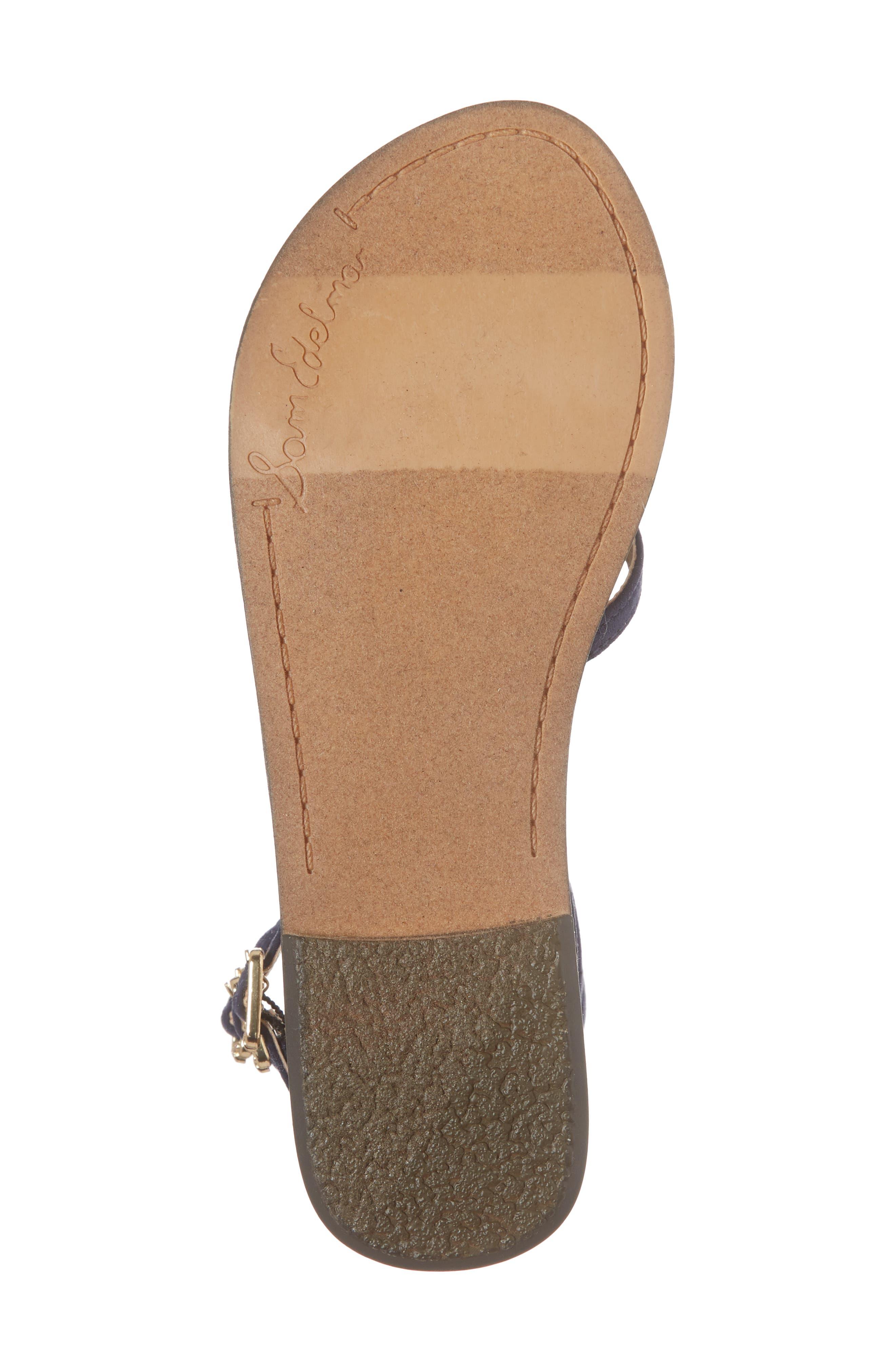 Gigi Giselle Embellished Sandal,                             Alternate thumbnail 6, color,                             Navy Faux Suede