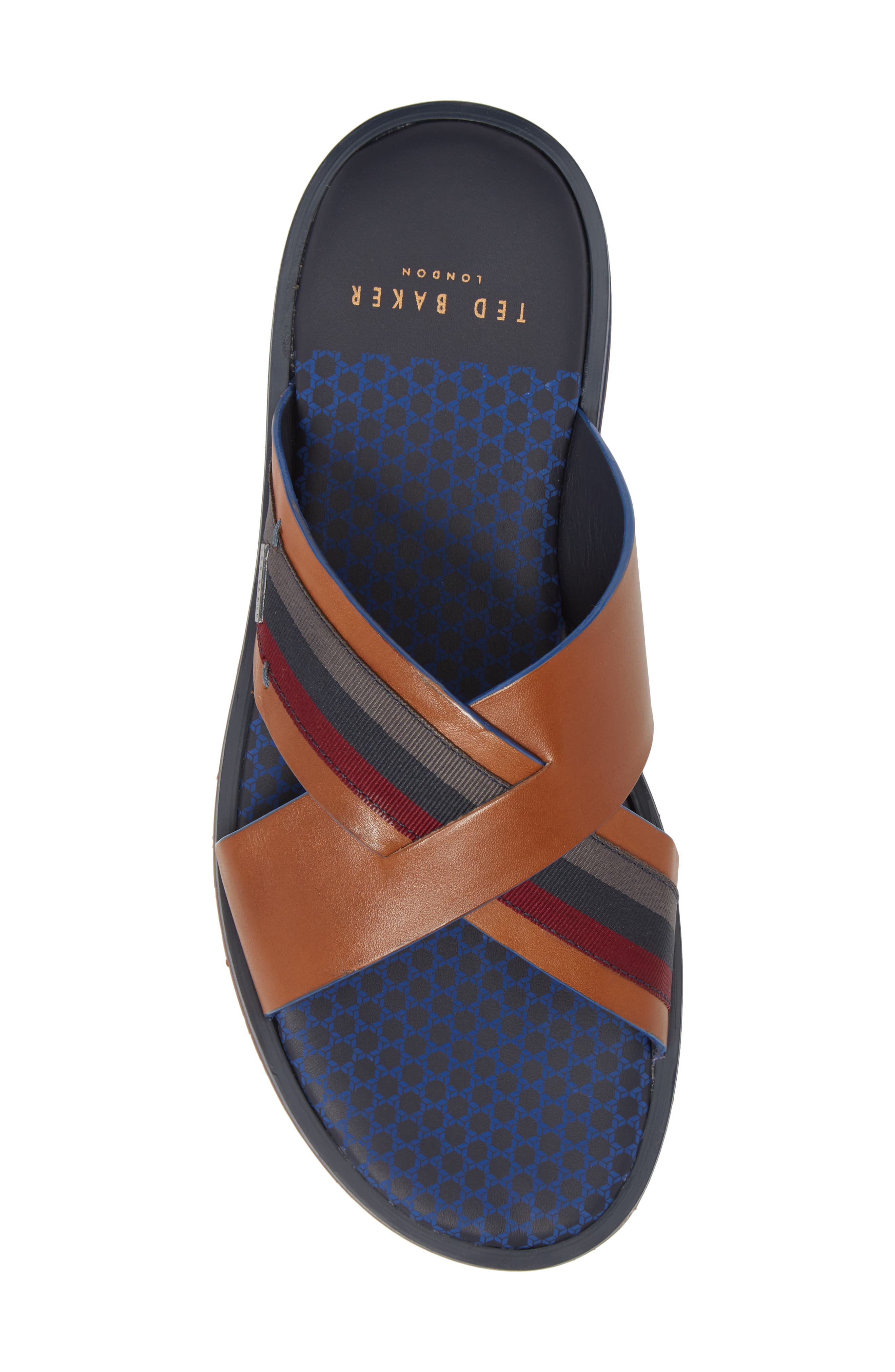 Farrull Cross Strap Slide Sandal,                             Alternate thumbnail 5, color,                             Tan Leather/ Textile