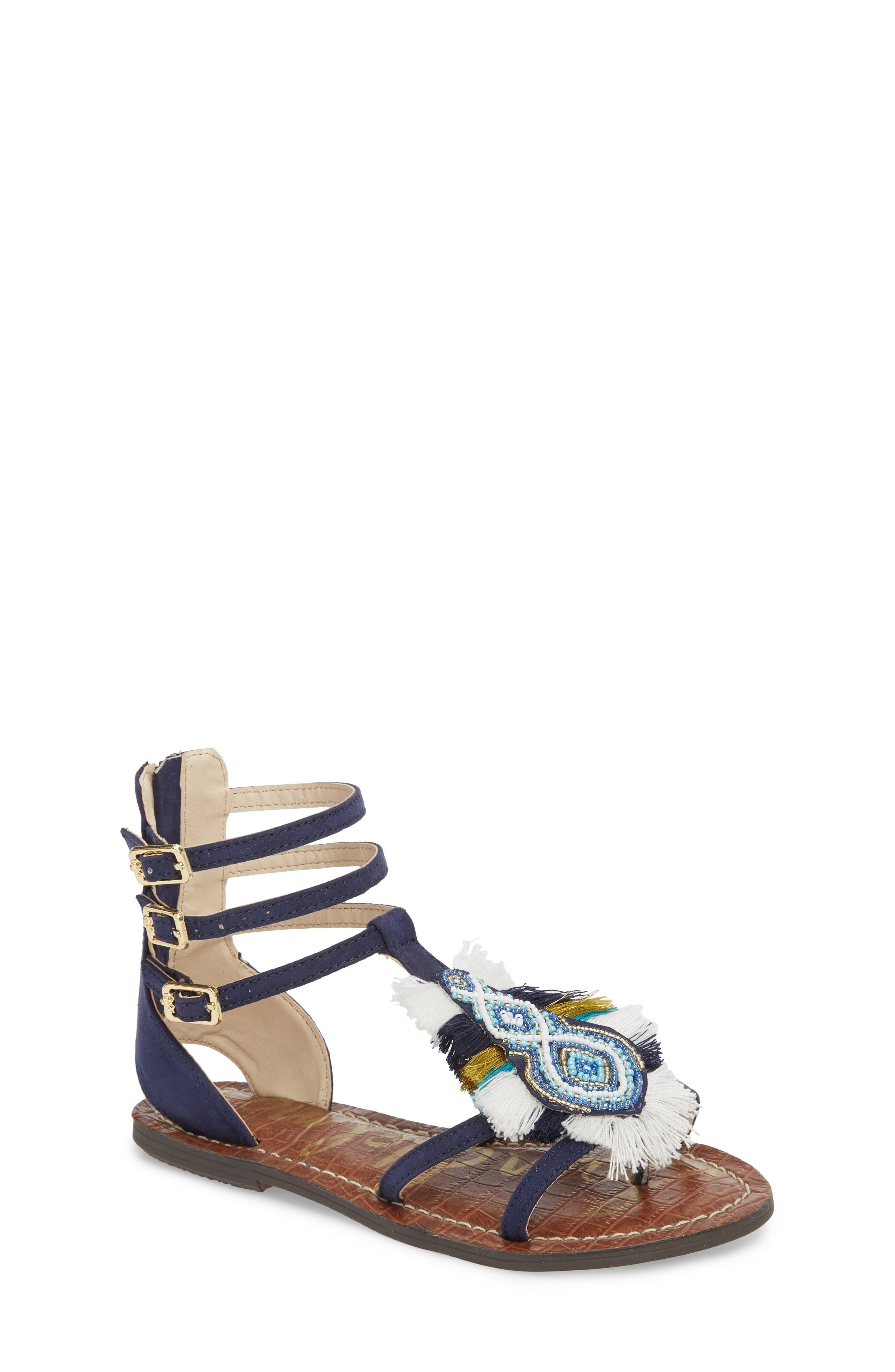 Gigi Giselle Embellished Sandal,                             Main thumbnail 1, color,                             Navy Faux Suede