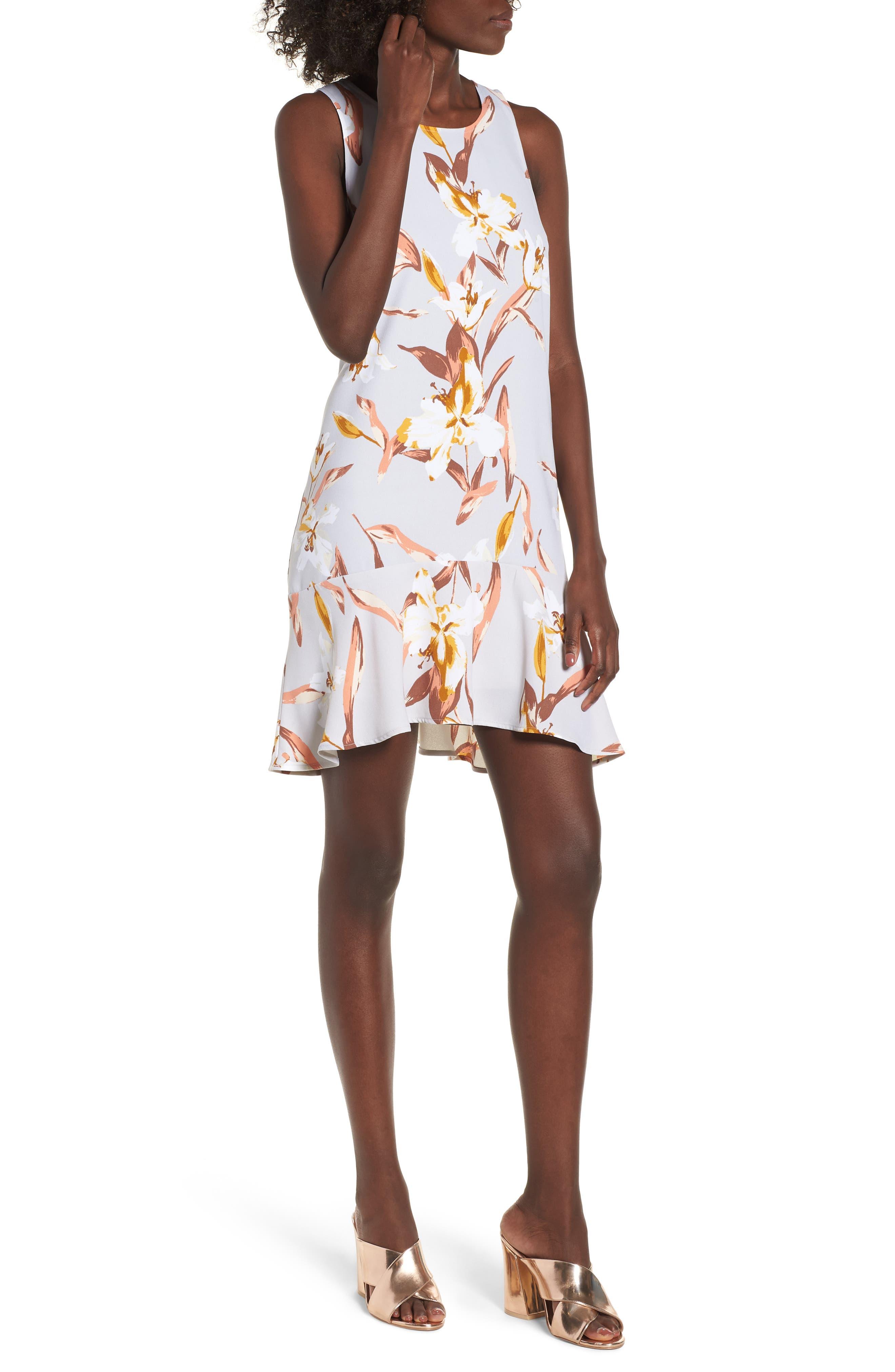 Flounce Hem Dress,                         Main,                         color, Grey Violet Romantic Floral