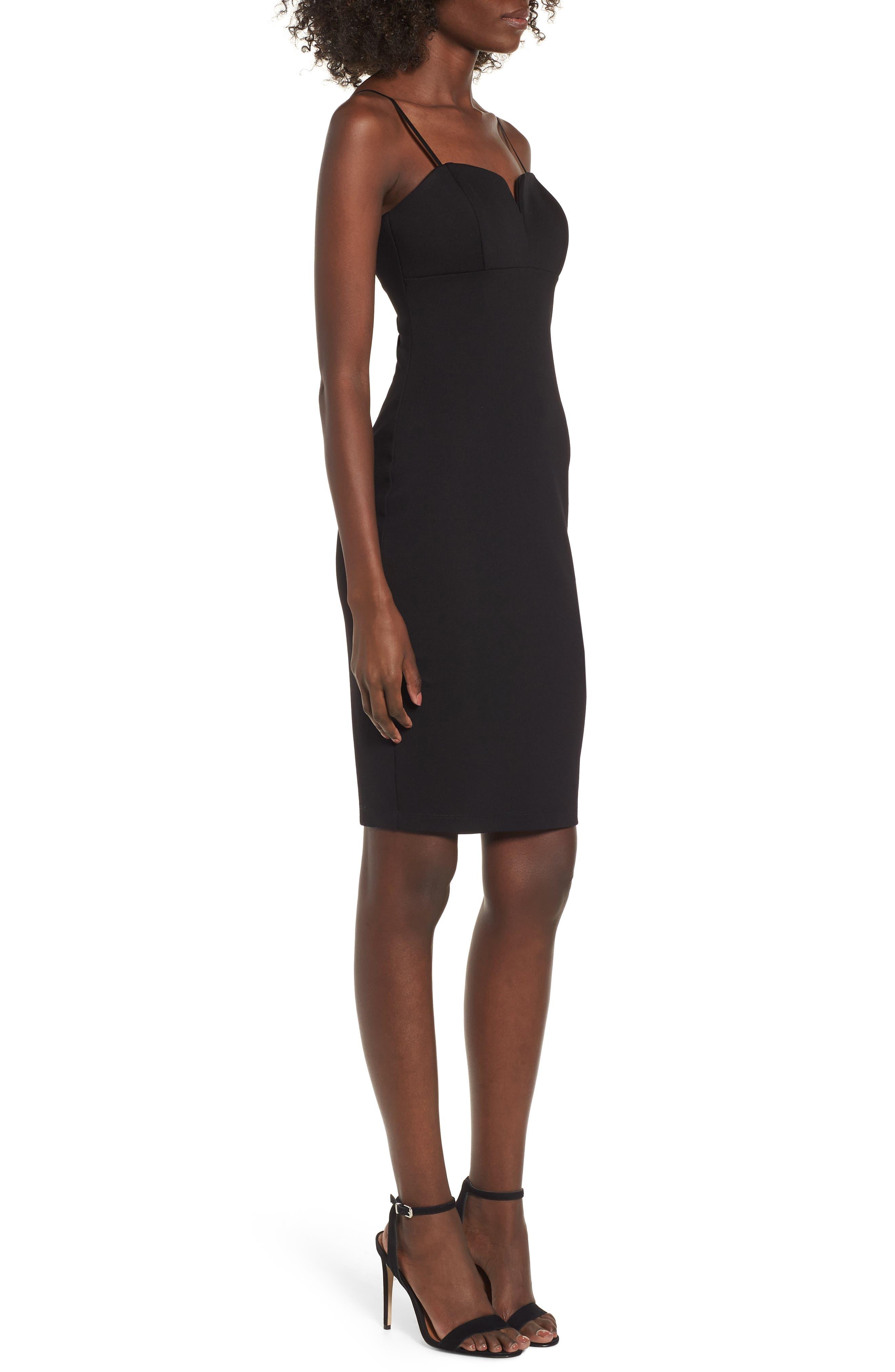 V-Front Bodycon Dress,                             Alternate thumbnail 3, color,                             Black